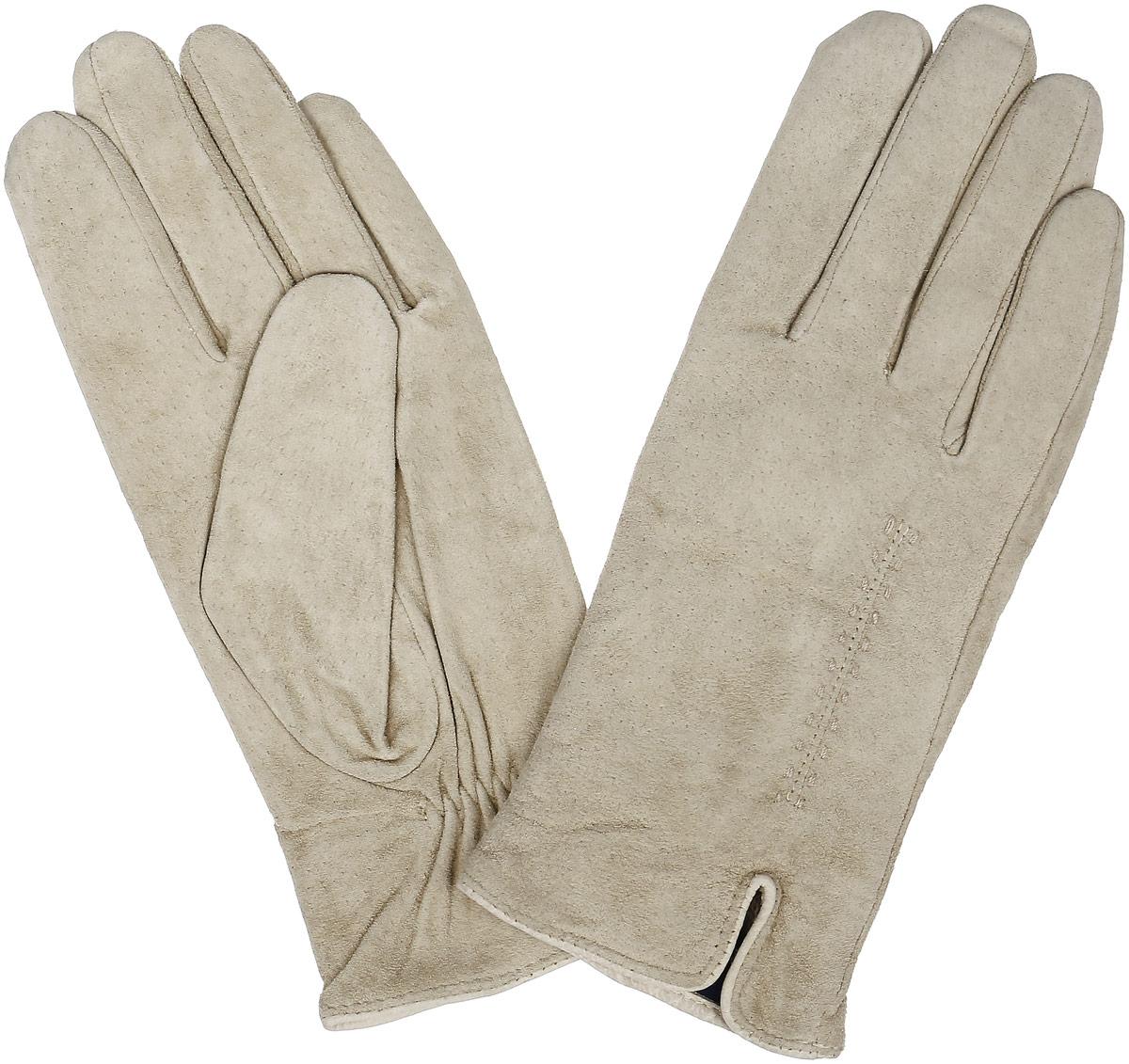 Перчатки женские Dali Exclusive, цвет: слоновая кость. S13_ALINA/BEIGE//11. Размер 7,5S13_ALINA/BEIGE//11Стильные перчатки Dali Exclusive с шерстяной подкладкой выполнены из мягкой и приятной на ощупь натуральной замши. Лицевая сторона оформлена декоративными стежками и дополнена небольшим разрезом. Такие перчатки подчеркнут ваш стиль и неповторимость и придадут всему образу нотки женственности и элегантности.
