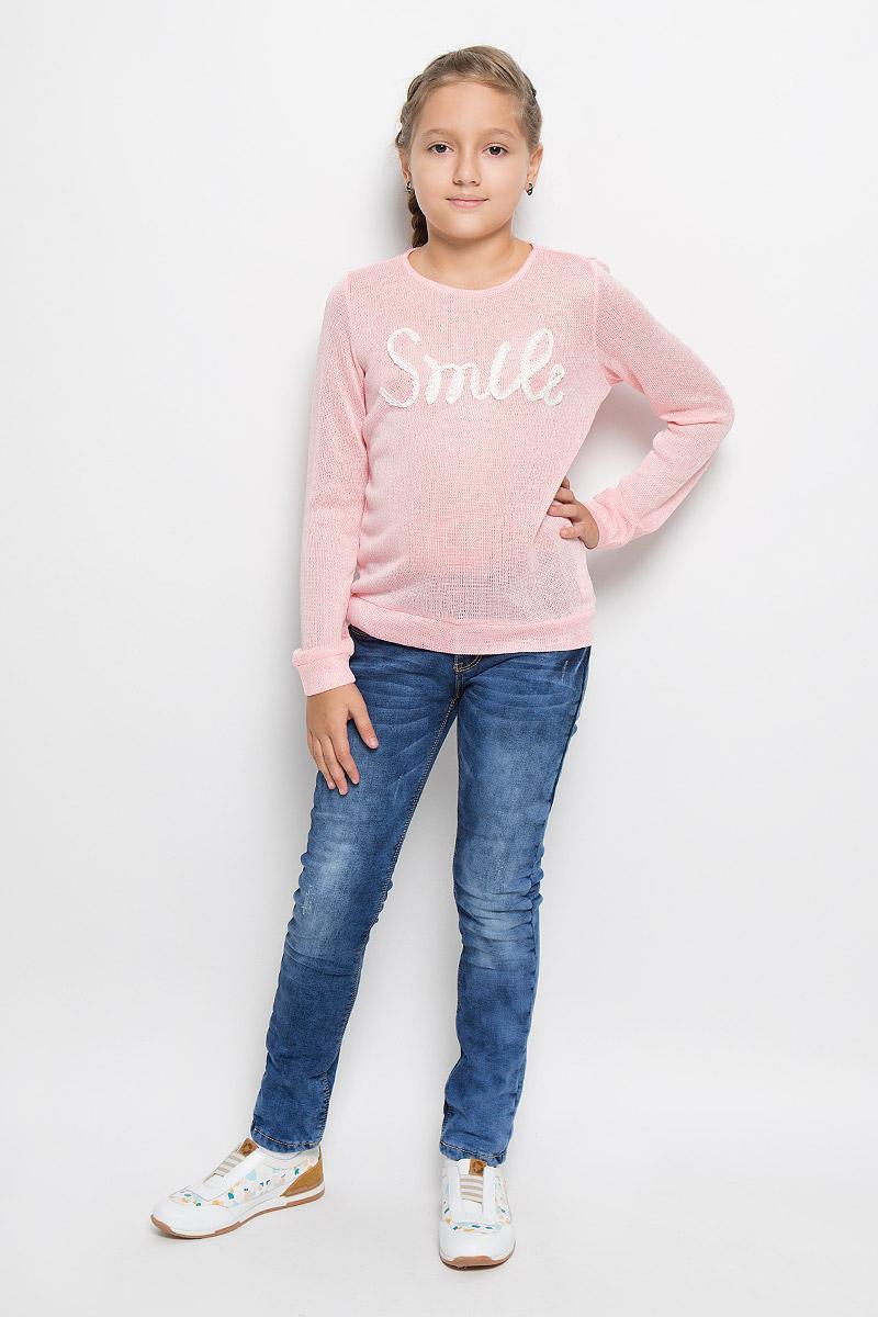 Джемпер для девочки Sela, цвет: светло-розовый. St-613/095-6141. Размер 128, 8 летSt-613/095-6141Джемпер для девочки Sela идеально подойдет юной моднице. Изготовленный из вискозы и полиэстера с добавлением эластана, он тонкий, мягкий и очень приятный на ощупь, не сковывает движения ребенка, хорошо вентилируется. Джемпер с длинными рукавами и круглым вырезом горловины оформлен спереди надписью, выполненной из кружев. На рукавах предусмотрены широкие манжеты, не пережимающие ручки ребенка.Современный дизайн и расцветка делают этот джемпер стильным предметом детского гардероба. В нем ваша принцесса всегда будет в центре внимания!