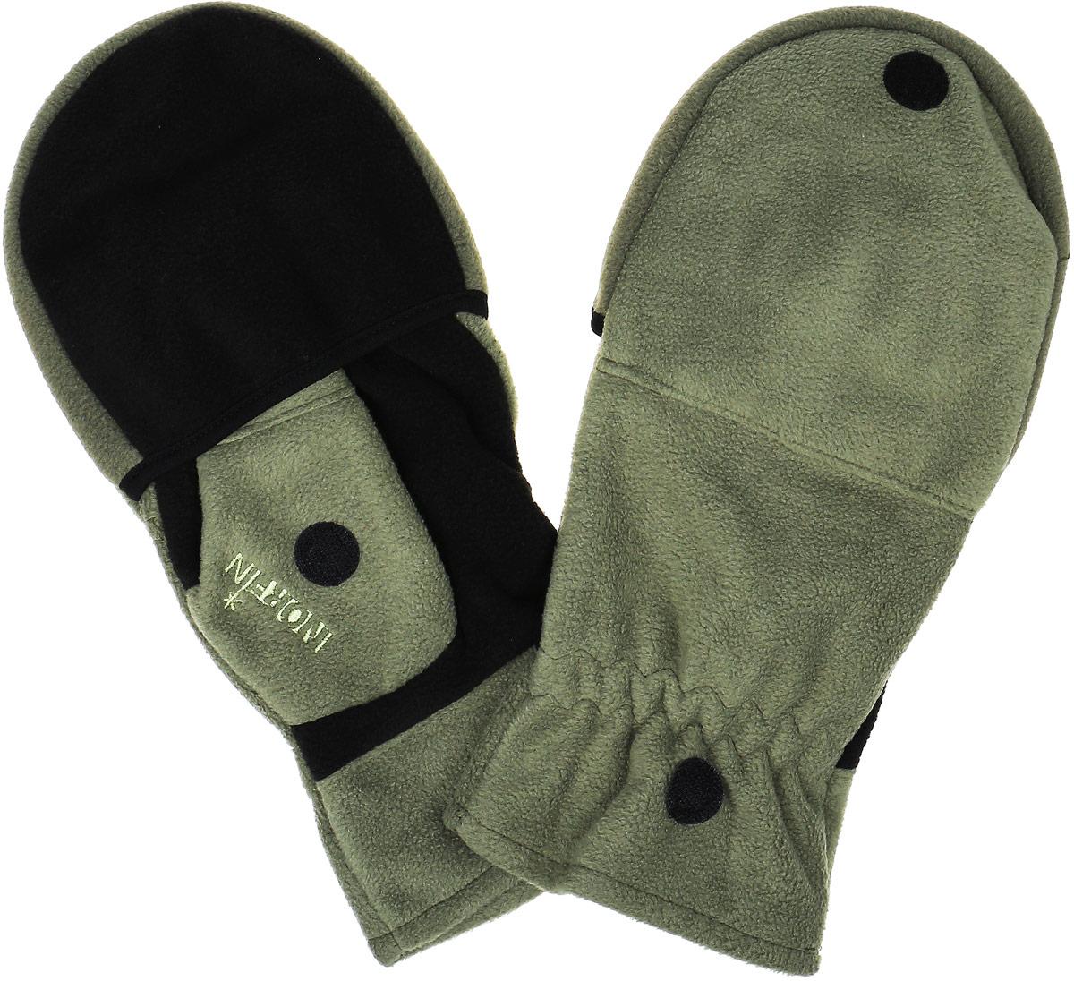Перчатки-варежки мужские Norfin 73, цвет: зеленый. 701103-L. Размер L (9)701103Перчатки-варежки Norfin 73 защитят ваши руки. Они хорошо сохраняют тепло, мягкие, идеально сидят на руке. Перчатки-варежки выполнены из флиса. Изделие представляет собой перчатки без пальцев, к внешней стороне которых крепится капюшон, накинув его на пальцы, перчатки превращаются в варежки. На большом пальце имеется отверстие. Капюшон фиксируется на перчатке при помощи липучки.