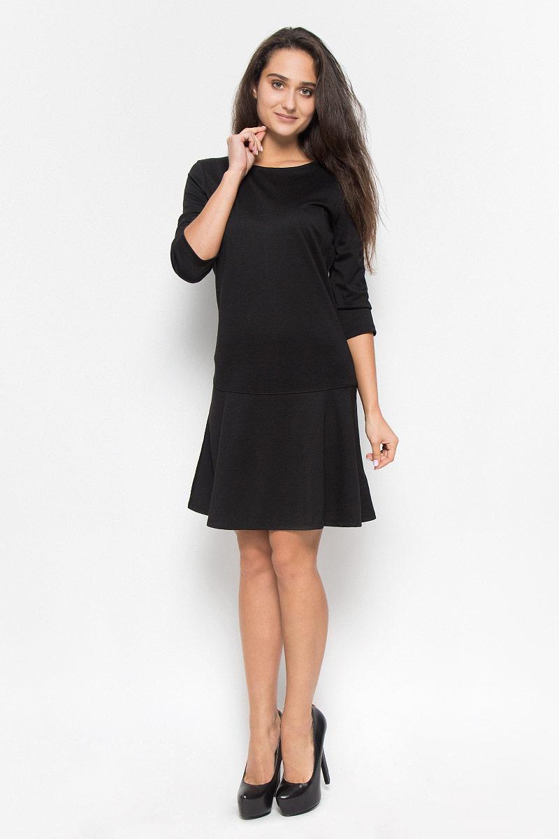 Платье Tom Tailor, цвет: черный. 5019558.00.75_2999. Размер 36 (42)5019558.00.75_2999Элегантное платье Tom Tailor выполнено из натурального хлопка. Такое платье обеспечит вам комфорт и удобство при носке и непременно вызовет восхищение у окружающих. Модель средней длины с рукавами до локтя и круглым вырезом горловины выгодно подчеркнет все достоинства вашей фигуры. Платье застегивается на застежку-молнию на спинке. Изысканное платье-миди создаст обворожительный и неповторимый образ.Это модное и комфортное платье станет превосходным дополнением к вашему гардеробу, оно подарит вам удобство и поможет подчеркнуть ваш вкус и неповторимый стиль.