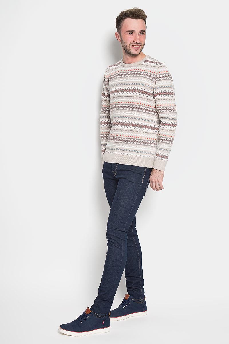 Джемпер мужской Sela Casual Wear, цвет: бежевый, белый, светло-коричневый. JR-214/832-6424. Размер M (48) sela jr 214 1001 6352
