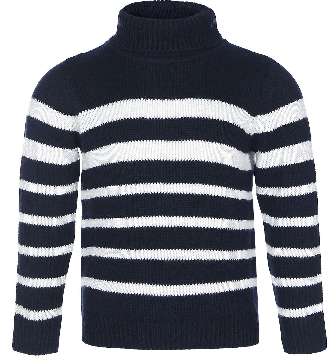 Свитер для мальчика Sela, цвет: темно-синий. JR-714/046-6425. Размер 116, 6 летJR-714/046-6425Теплый вязаный свитер для мальчика Sela идеально подойдет вашему ребенку в прохладные дни. Изготовленный из пряжи смешанного состава, он необычайно мягкий и приятный на ощупь, не сковывает движения и хорошо сохраняет тепло, обеспечивая наибольший комфорт. Уютный вязаный свитер с длинными рукавами имеет высокий воротник-гольф с отворотом. Низ рукавов, воротник и низ изделия дополнены вязаной крупной резинкой. Такой свитер послужит отличным дополнением к гардеробу вашего ребенка. Он улучшит настроение даже в хмурые холодные дни!