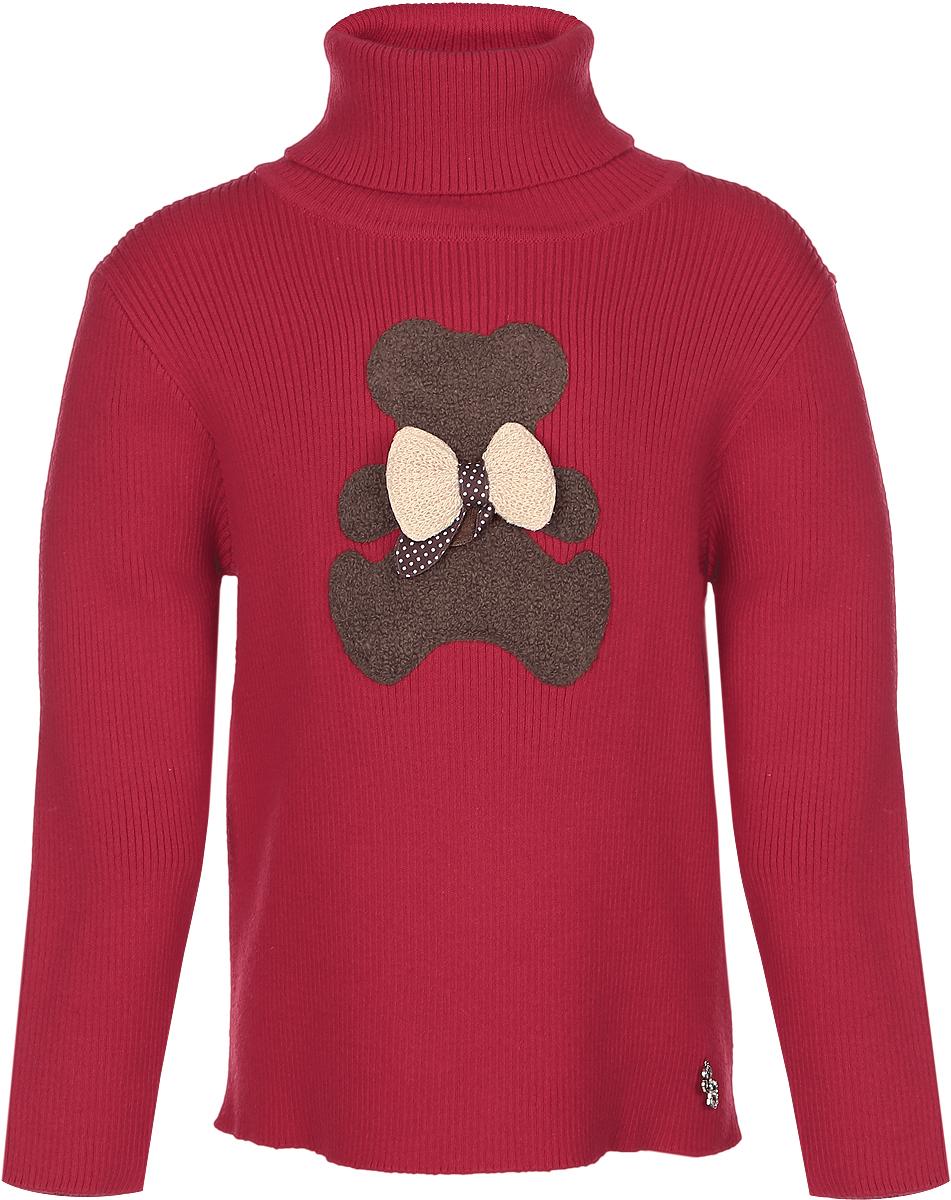 Свитер для девочки Sweet Berry, цвет: красный. 205263. Размер 80205263Стильный вязаный свитер для девочки Sweet Berry идеально подойдет вашей маленькой принцессе. Изготовленный из хлопка с добавлением акрила, он необычайно мягкий и приятный на ощупь, не сковывает движения малышки и позволяет коже дышать, не раздражает даже самую нежную и чувствительную кожу ребенка, обеспечивая ему наибольший комфорт. Свитер с длинными рукавами и высокой горловиной «гольф» на груди оформлен аппликацией в виде мишки с бантиком. Оригинальный дизайн и модная расцветка делают этот свитер стильным и модным предметом детского гардероба. В нем вашей малышке будет уютно и тепло, и она всегда будет в центре внимания!