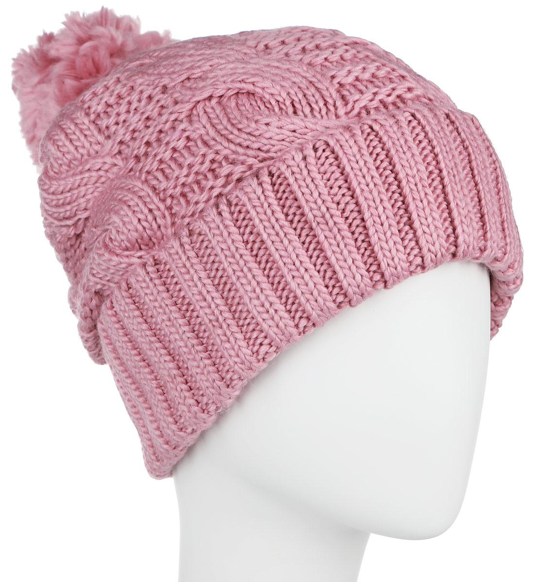 Шапка женская Finn Flare, цвет: пепельно-розовый. A16-32124_325. Размер 56A16-32124_325Стильная женская шапка Finn Flare дополнит ваш наряд и не позволит вам замерзнуть в холодное время года. Шапка выполнена из высококачественной, комбинированной пряжи, что позволяет ей великолепно сохранять тепло и обеспечивает высокую эластичность и удобство посадки. Изделие дополнено теплой флисовой подкладкой.Модель с удлиненной макушкой оформлена оригинальным узором и дополнена пушистым помпоном. Такая шапка станет модным и стильным дополнением вашего гардероба. Она согреет вас и позволит подчеркнуть свою индивидуальность! Уважаемые клиенты!Размер, доступный для заказа, является обхватом головы.