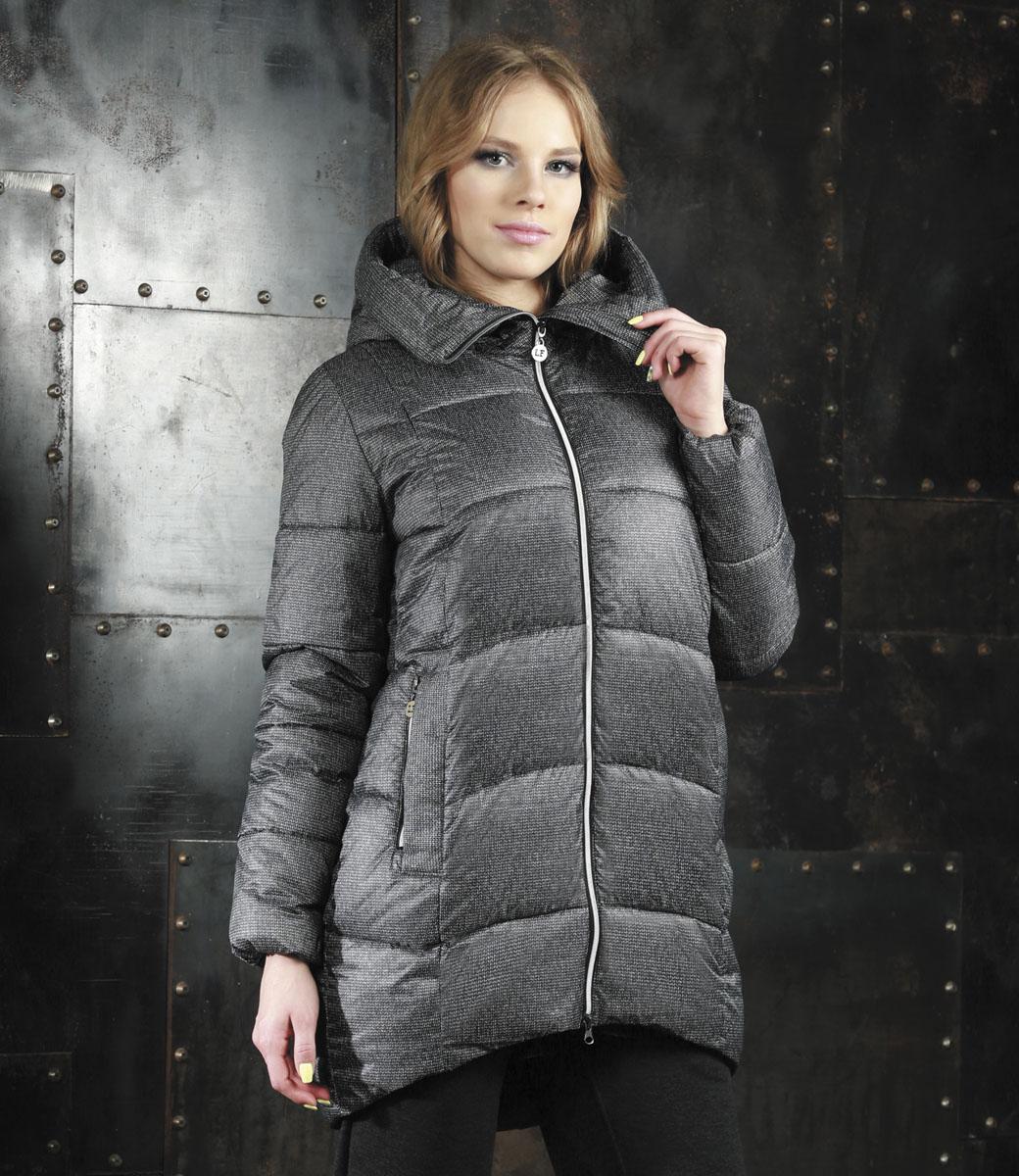 Куртка женская Grishko, цвет: серый. AL-2961/1. Размер 44AL-2961/1Удобная и комфортная женская куртка Grishko модного силуэта кокон выполнена из высококачественного полиамида и 100% утеплителя-полиэстера.Модель застегивается на застежку-молнию спереди и дополнена элегантным глубоким капюшоном, дополнительно защищающим от непогоды. Длина до середины бедра, удлиненная по спинке ассиметричная линия низа, 2 боковых втачных кармана на молнии и один потайной внутри изделия. Такая курточка оформлена оригинальным цветочным узором. Незаменимая модель в холодную осеннюю и зимнюю погоду. Утеплитель 100% полиэстер.