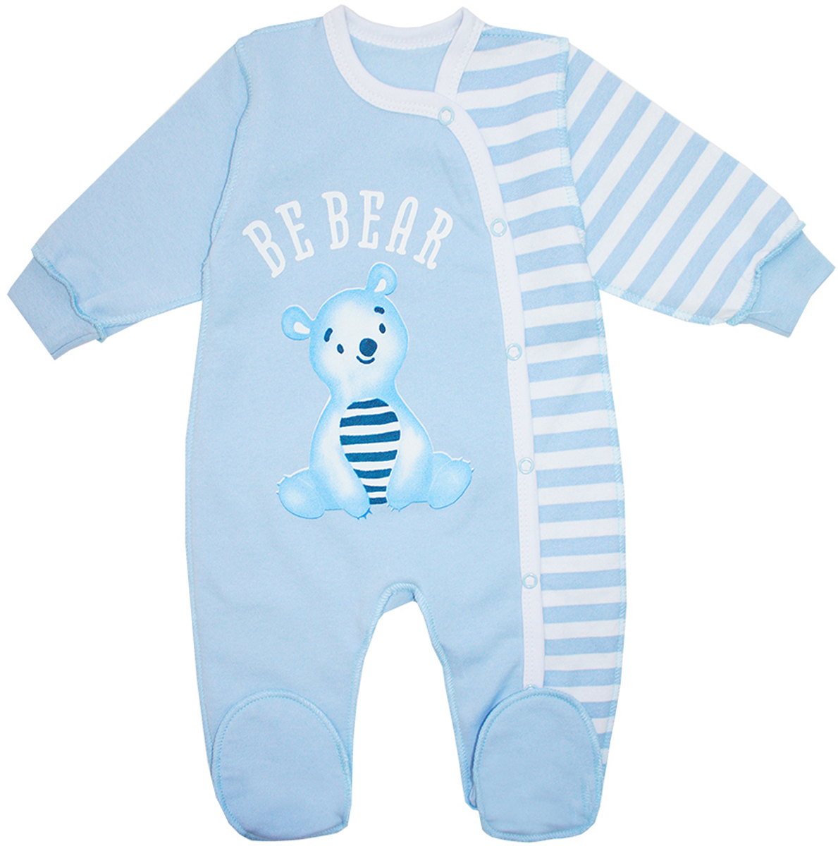 Комбинезон для мальчика КотМарКот Be Bear, цвет: голубой, белый. 6372. Размер 74, 6-9 месяцев6372Комбинезон для мальчика КотМарКот Be Bear выполнен из натурального хлопка. Комбинезон с круглым вырезом горловины, длинными рукавами и закрытыми ножками имеет застежки-кнопки спереди от горловины до низа брючины, которые помогают легко переодеть младенца или сменить подгузник. Рукава дополнены эластичными манжетами. Изделие оформлено принтом с изображением мишки.