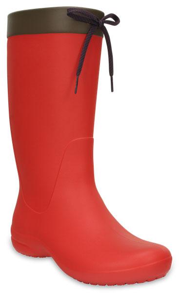 Сапоги резиновые женские Crocs Freesail Rain Boot, цвет: красный. 203541-8C1. Размер 5 (35)203541-8C1Высокая модель резиновых сапог от Crocs с тонким изящным силуэтом создана специально для женщин. Легкие и водонепроницаемые, они отлично смотрятся как с джинсами, так и с платьями.Невероятно легкие сапоги, выполненные из материала Croslite, дополнены на голенище манжетами с завязками. Стелька с подкладкой обеспечивает комфорт при ходьбе. Резиновые протекторы на подошве обеспечивают устойчивость.