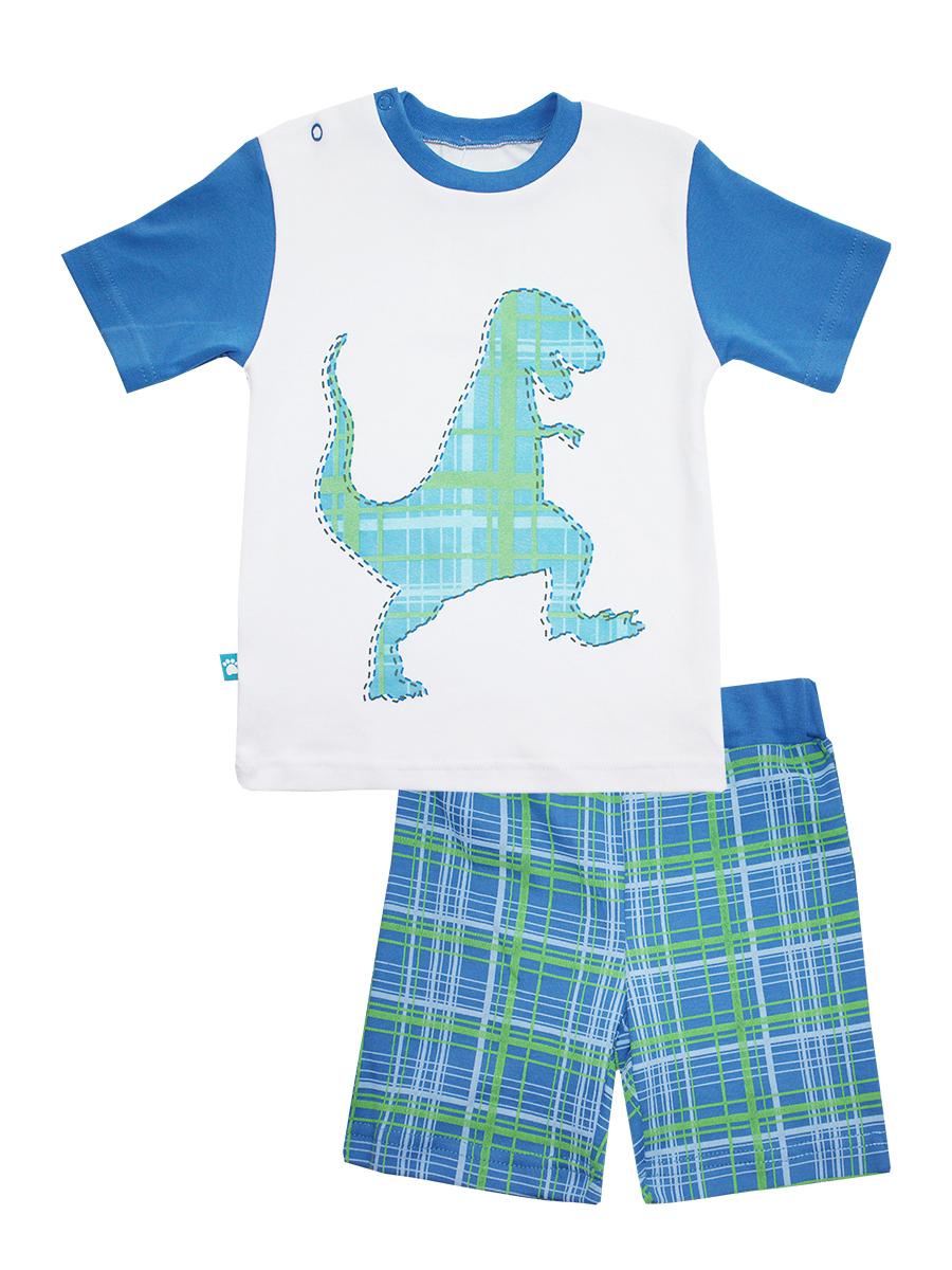 Пижама для мальчика КотМарКот Дино, цвет: белый, синий. 16451. Размер 92, 2 года16451Пижама для мальчика КотМарКот Дино включает в себя футболку и шорты. Пижама изготовлена из натурального хлопка.Футболка с короткими рукавами и круглым вырезом горловины дополнена контрастной трикотажной резинкой по горловине. Модель оформлена принтом с изображением силуэта динозавра.Свободные шорты с широкой эластичной резинкой на поясе украшены принтом в клетку.