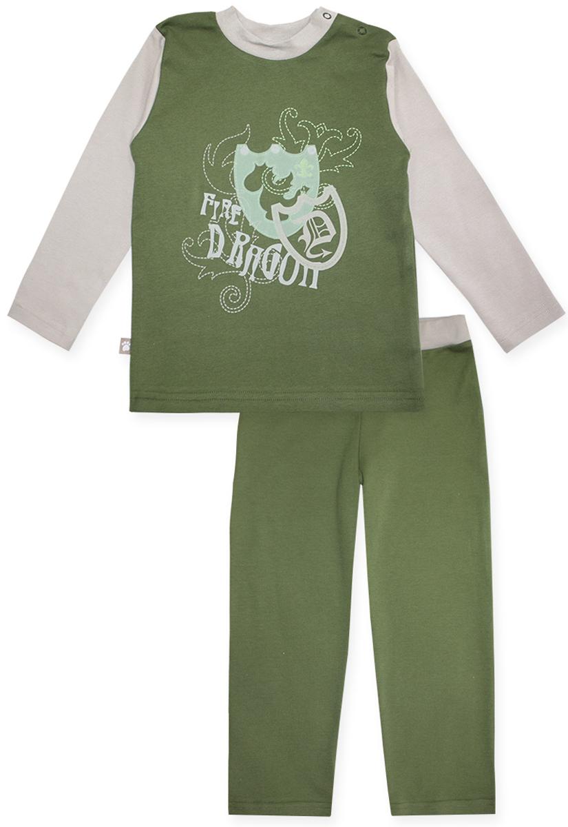 Пижама для мальчика КотМарКот Дракон, цвет: зеленый. 16653. Размер 110, 5 лет16653Пижама для мальчика КотМарКот Дракон включает в себя лонгслив и брюки. Пижама изготовлена из натурального хлопка.Лонгслив с длинными рукавами и круглым вырезом горловины дополнен двумя кнопками на плече для удобства переодевания. Лонгслив оформлен принтом с изображением двух щитов и надписью Fire Dragon.Свободные брюки дополнены широкой эластичной резинкой на поясе.