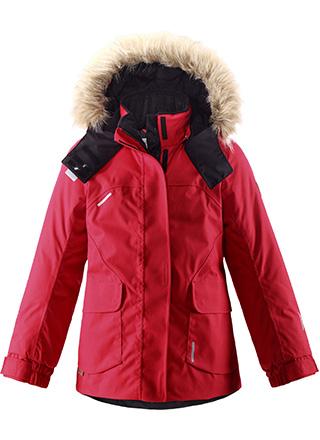 Куртка для девочки Reima Reimatec Sisarus, цвет: красный. 531234-2500. Размер 122531234-3830Этой элегантной зимней куртке для детей в классическом стиле не страшны ни время, ни изнашивание! Куртка сшита из водо- и ветронепроницаемого материала, великолепно подойдет для любых видов зимних развлечений. Все швы проклеены для обеспечения водонепроницаемости, чтобы ребенок оставался сухим и не замерз во время длинной прогулки на свежем воздухе. Ткань пропускает воздух, поэтому ребенок не вспотеет, даже если будет двигаться очень быстро. Удлиненный, прилегающий силуэт сочетается с фиксированной утяжкой сзади и регулируемыми манжетами. Съемный капюшон дополнен стильным искусственным мехом, который при желании можно отстегнуть. Защитный капюшон не представляет опасности во время игры на улице, потому что легко отстегивается, если за что-нибудь зацепится. Развлекаясь на улице, самые ценные маленькие вещицы можно спрятать в два кармана с клапанами. Эта куртка не требует особого ухода. Можно сушить в центрифуге. Водонепроницаемость: Waterpillar over 15 000 mm.
