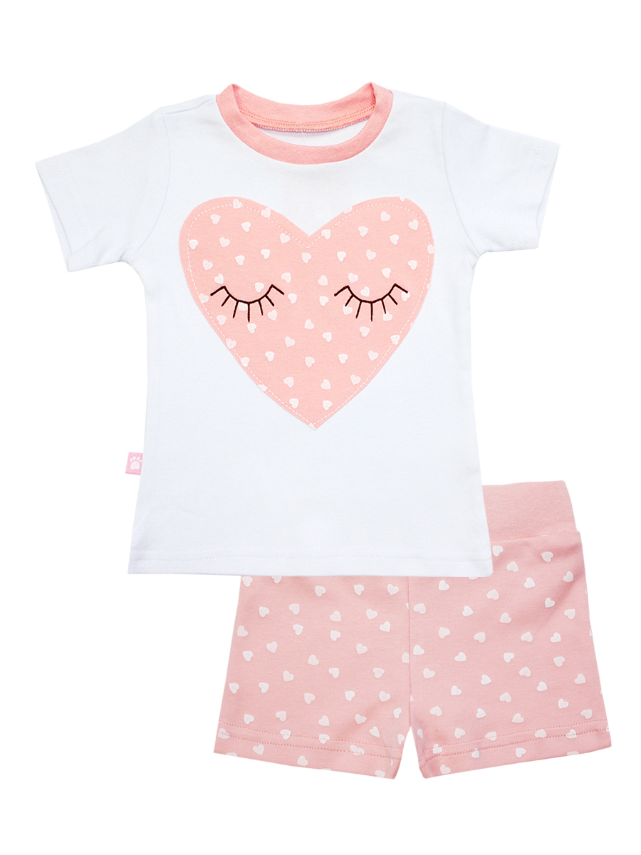 Пижама для девочки КотМарКот Сердечко, цвет: розовый, белый. 16452. Размер 116, 6 лет16452Пижама для девочки КотМарКот Сердечко, состоящая из футболки с коротким рукавом и шорт выполнена из натурального хлопка. Футболка с кроткими рукавами имеет круглый вырез горловины, оформленный трикотажной резинкой. Изделие украшено нашивкой в виде сердечка. Шорты на талии имеют мягкую резинку, благодаря чему они не сдавливают животик ребенка и не сползают.