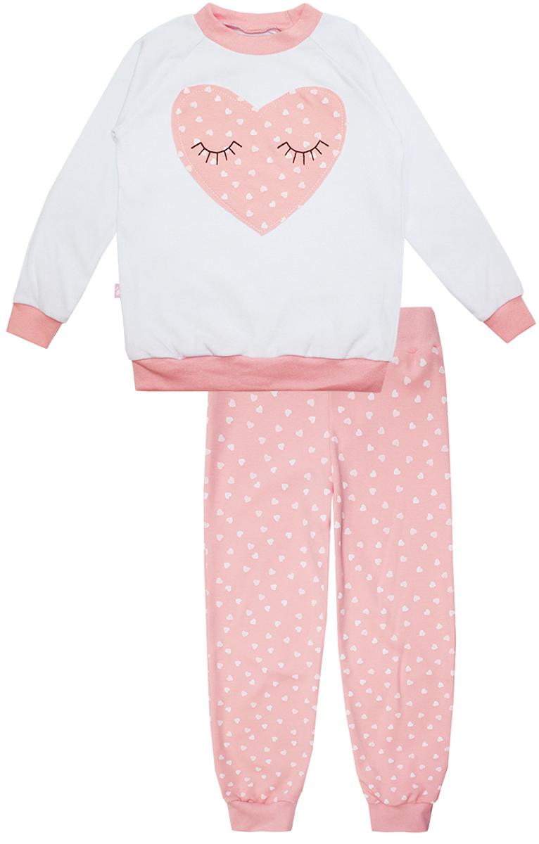 Пижама для девочки КотМарКот Сердечко, цвет: белый, розовый. 16552. Размер 104, 4 года16552Пижама для девочки КотМарКот Сердечко включает в себя лонгслив и брюки. Пижама изготовлена из натурального хлопка.Лонгслив с длинными рукавами-реглан и круглым вырезом горловины оформлен нашивкой в виде сердечка.Свободные брюки с широкой эластичной резинкой на поясе дополнены трикотажными манжетами по низу брючин. Модель украшена принтом в сердечко.