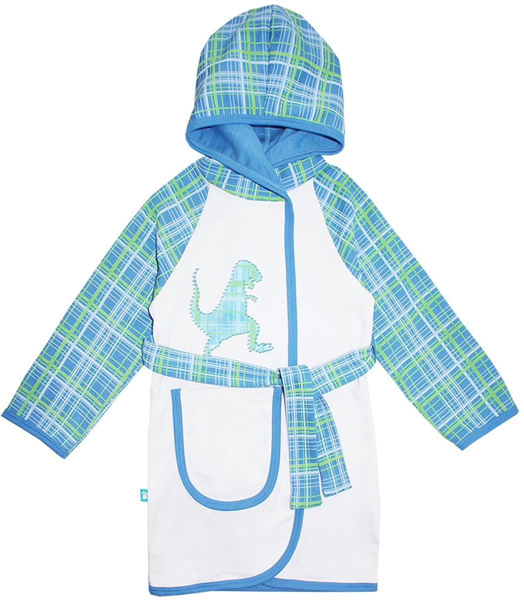 Халат для мальчика КотМарКот Дино, цвет: белый, синий, зеленый. 12251. Размер 98, 3 года12251Халат для мальчика на запах КотМарКот выполнен из натурального хлопка.Модель средней длины с длинными рукавами-реглан и несъемным капюшоном имеет узкий текстильный пояс, дополнена шлевками. Спереди располагается накладной карман. Модель декорирована принтом в клетку по капюшону и рукавам, а также украшена небольшим принтом с изображением динозавра на груди.