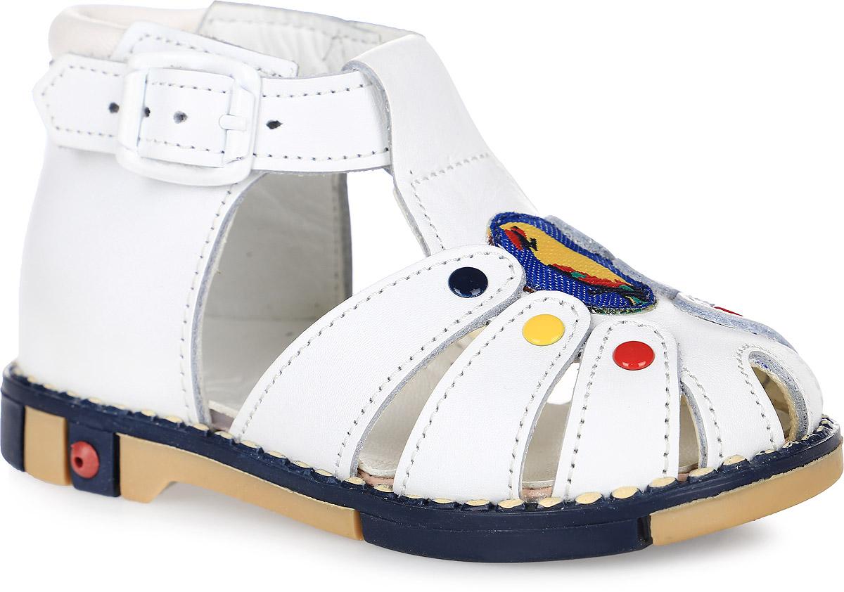 Сандалии детские Таши Орто, цвет: белый. 221-01. Размер 21Tas221-01Стильные детские сандалии Таши Орто заинтересуют вашего ребенка с первого взгляда. Модель выполнена из натуральной кожи контрастных цветов. Ремешок на застежке-пряжке помогает оптимально подогнать полноту обуви по ноге и гарантирует надежную фиксацию. Сбоку сандалетыдекорированы символикой бренда. Анатомическая стелька из натуральной кожи супинатором, не продавливающимся во время носки, обеспечивает правильное формирование стопы. Благодаря использованию современных внутренних материалов оптимально распределяется нагрузка по всей площади стопы, что дает ножке ощущение мягкости и комфорта. Полужесткий задник фиксирует ножку ребенка. Мягкая верхняя часть, которая плотно прилегает к ножке, и подкладка, изготовленная из натуральной кожи, позволяют избежать натирания. Эластичная подошва с рельефным протектором предназначена для правильного распределения нагрузки на опорно-двигательный аппарат ребенка.