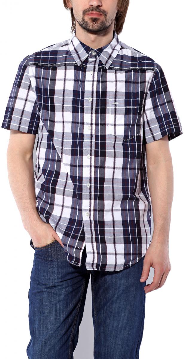 Рубашка мужская Montana, цвет: темно-синий, серый, белый. 11061 NBW. Размер S (46)11061 NBWМужская рубашка Montana выполнена из натурального хлопка. Модель с отложным воротником и короткими рукавами застегивается на пуговицы по все длине. Спереди изделие дополнено накладным карманом. Рубашка оформлена принтом в клетку и дополнена фирменной, металлической нашивкой.