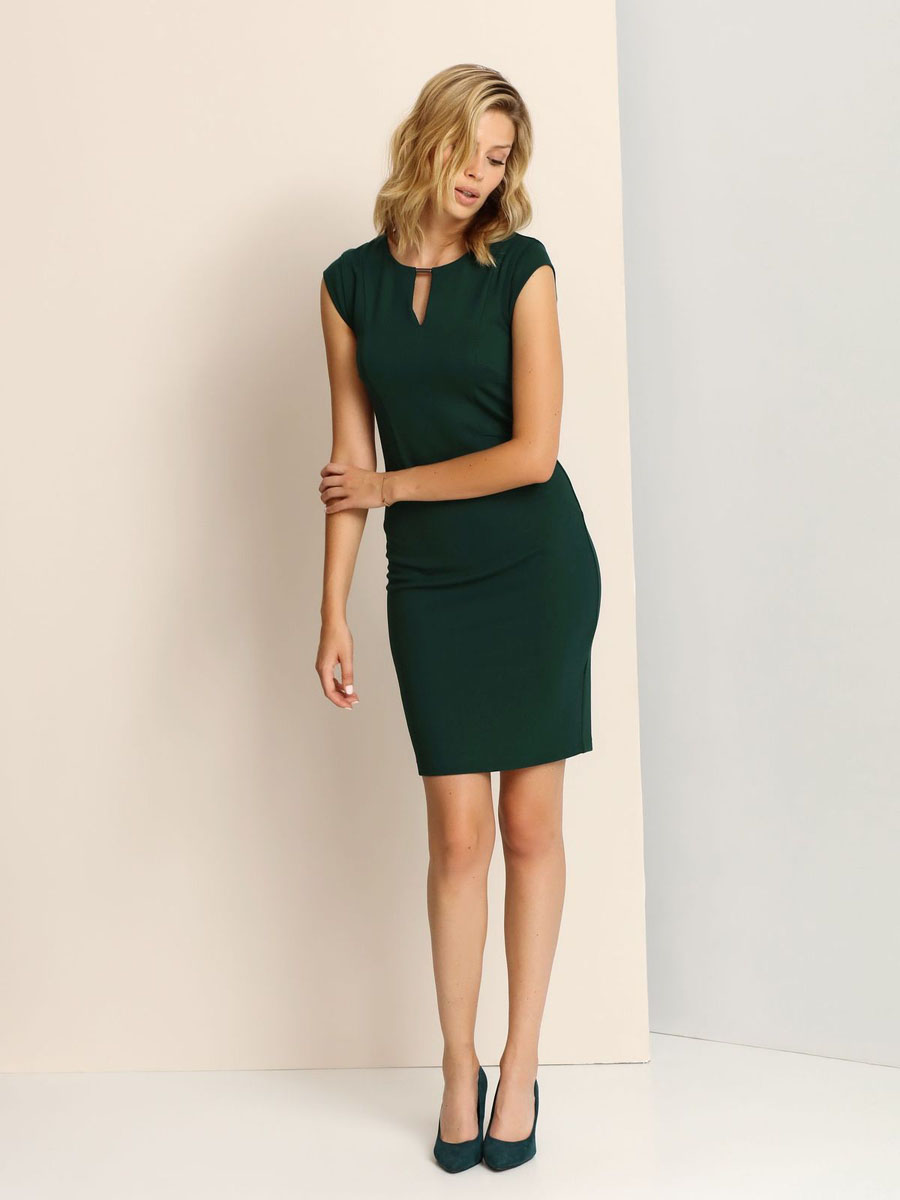 Платье Top Secret, цвет: темно-зеленый. SSU1662ZI. Размер 38 (44)SSU1662ZIЭлегантное платье Top Secret, изготовленное из сочетания высококачественных материалов, оно мягкое на ощупь, не раздражает кожу и хорошо вентилируется.Модель с круглым вырезом горловины и короткими рукавами на спинке застегивается на потайную застежку-молнию. Верх платья оформлен небольшим вырезом и украшен декоративным элементом.