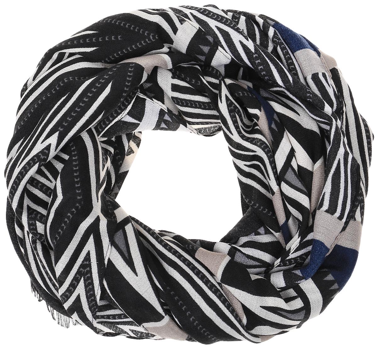 Палантин Sophie Ramage, цвет: бежевый, черный, синий. HL-21602-3. Размер 90 см х 180 смHL-21602-3Элегантный палантин Sophie Ramage станет достойным завершением вашего образа. Палантин изготовлен из модала с добавлением шерсти. Модель оформлена оригинальным геометрическим принтом. Палантин красиво драпируется, он превосходно дополнит любой наряд и подчеркнет ваш изысканный вкус. Легкий и изящный палантин привнесет в ваш образ утонченность и шарм.