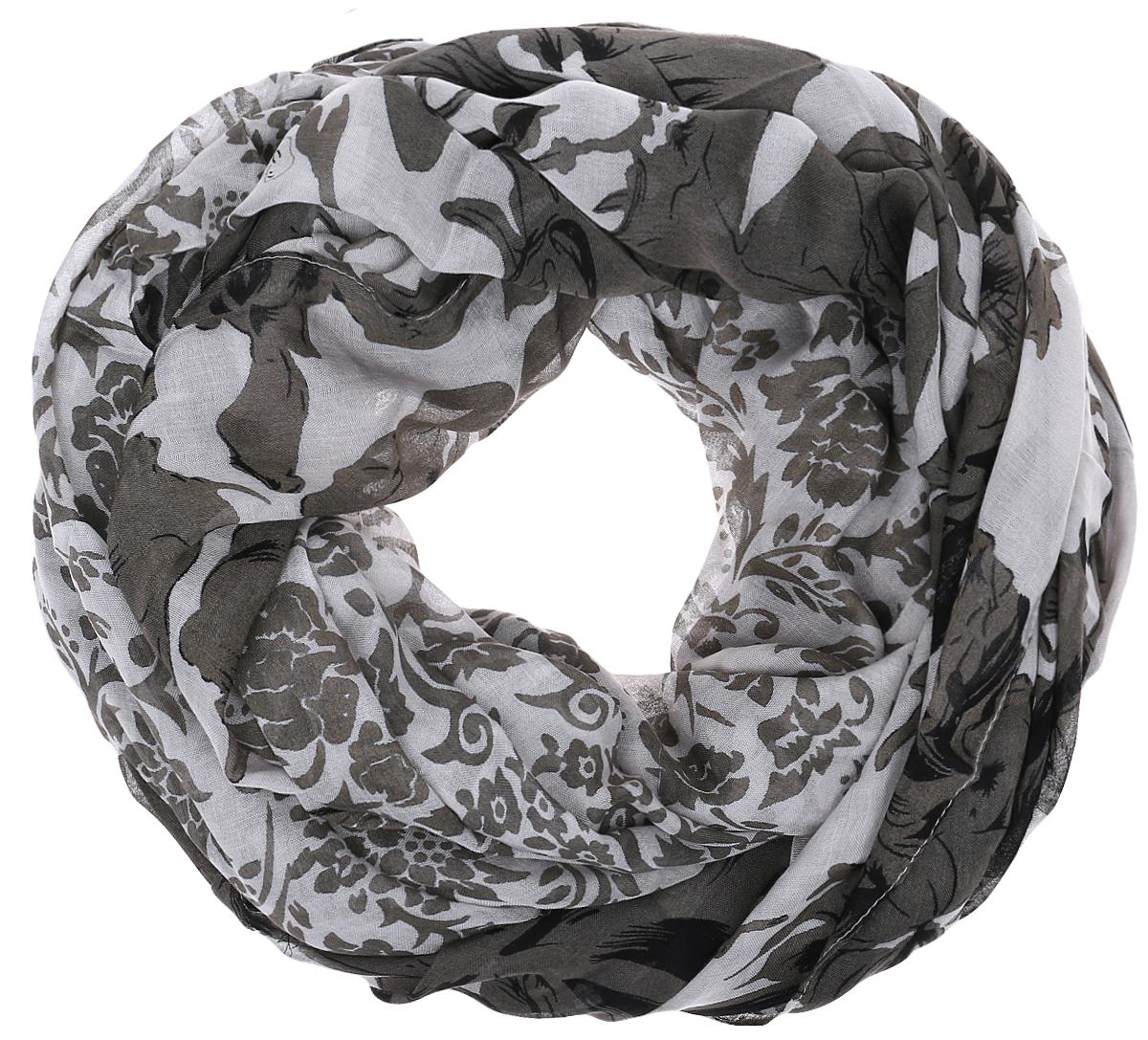 Палантин Sophie Ramage, цвет: серый, темно-серый. YY-21605-22. Размер 100 см х 200 смYY-21605-22Элегантный палантин Sophie Ramage станет достойным завершением вашего образа. Палантин изготовлен из 100% модала, что придает изделию мягкость и легкость. Оформлена модель оригинальным цветочным принтом. Палантин красиво драпируется, он превосходно дополнит любой наряд и подчеркнет ваш изысканный вкус. Легкий и изящный палантин привнесет в ваш образ утонченность и шарм.