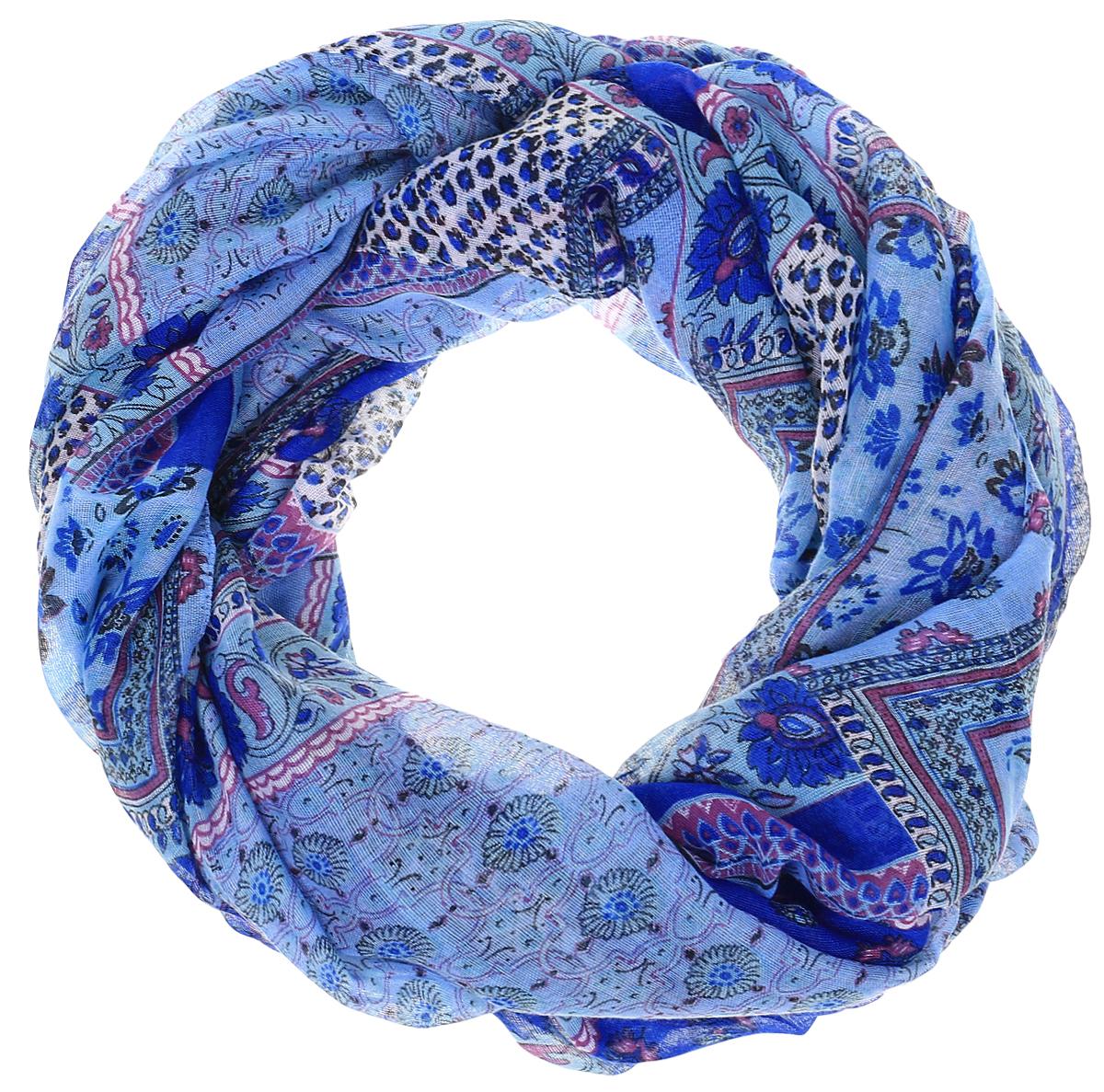 Палантин Sophie Ramage, цвет: голубой, синий. YY-21651-3. Размер 80 см х 180 смYY-21651-3Элегантный палантин Sophie Ramage станет достойным завершением вашего образа. Палантин изготовлен из модала с добавлением шерсти. Оформлена модель ярким цветочным принтом и дополнена различными орнаментами. Палантин красиво драпируется, он превосходно дополнит любой наряд и подчеркнет ваш изысканный вкус. Легкий и изящный палантин привнесет в ваш образ утонченность и шарм.