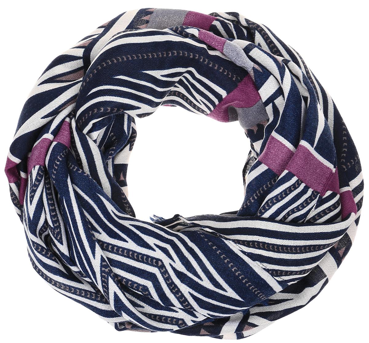 Палантин Sophie Ramage, цвет: синий, бежевый, бордовый. HL-21602-10. Размер 90 см х 180 смHL-21602-10Элегантный палантин Sophie Ramage станет достойным завершением вашего образа. Палантин изготовлен из модала с добавлением шерсти. Модель оформлена оригинальным геометрическим принтом. Палантин красиво драпируется, он превосходно дополнит любой наряд и подчеркнет ваш изысканный вкус. Легкий и изящный палантин привнесет в ваш образ утонченность и шарм.