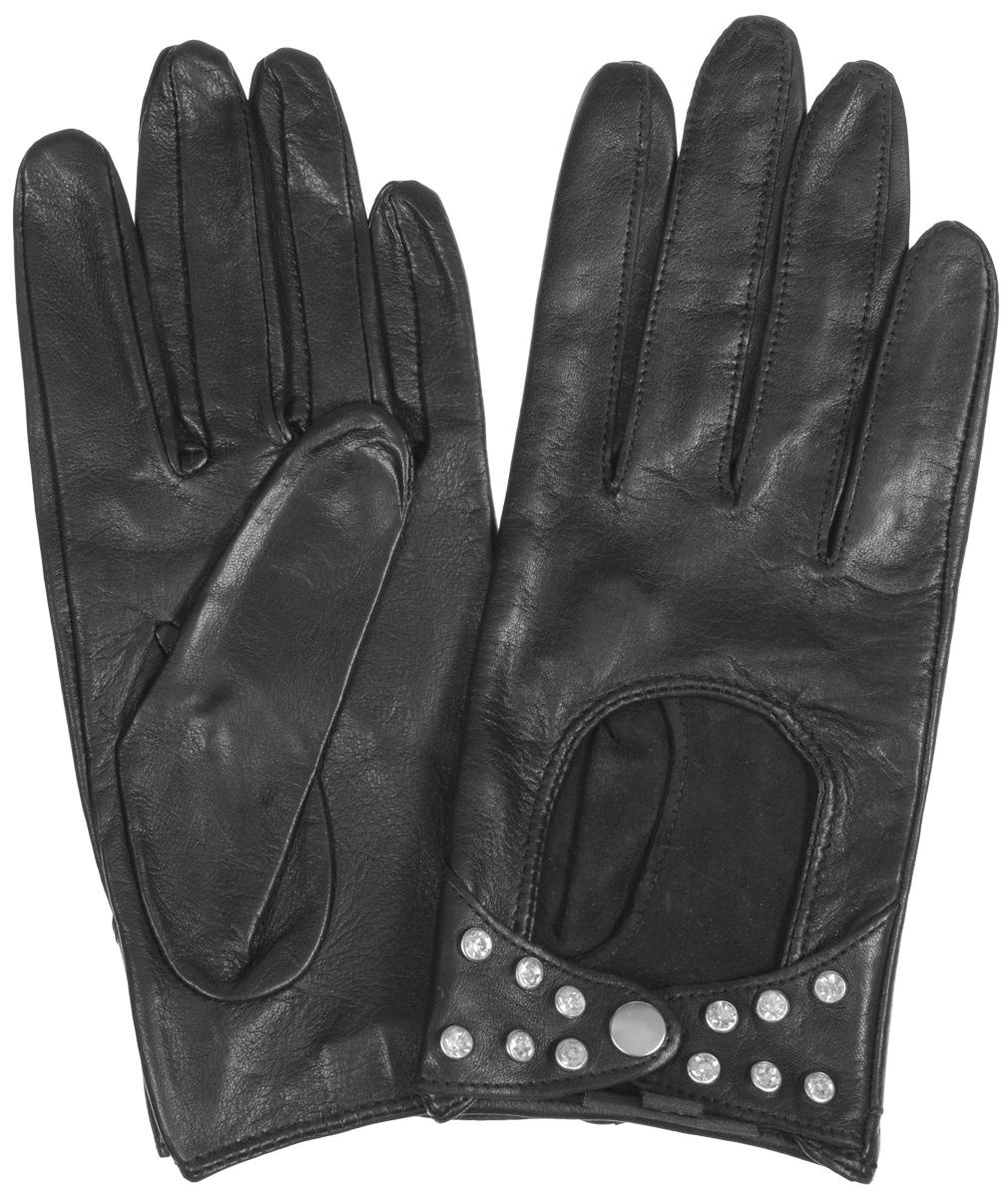 Перчатки женские Eleganzza, цвет: черный. HP02751. Размер 6.5HP02751Стильные женские перчатки Eleganzza не только защитят ваши руки от холода, но и станут великолепным украшением. Перчатки выполнены из чрезвычайно мягкой и приятной на ощупь натуральной кожи. Лицевая сторона перчаток на запястье застегивается хлястиками на кнопку, декорирована металлическими клепками. В настоящее время перчатки являются неотъемлемой принадлежностью одежды, вместе с этим аксессуаром вы обретаете женственность и элегантность. Перчатки станут завершающим и подчеркивающим элементом вашего стиля и неповторимости.
