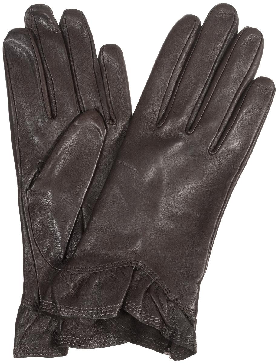 Перчатки женские Eleganzza, цвет: коричневый. IS01818. Размер 6.5IS01818Стильные женские перчатки Eleganzza выполнены из чрезвычайно мягкой и приятной на ощупь натуральной кожи ягненка, а их подкладка - из 100% шелка. Модель декорирована кожаной оборкой по краю манжеты. В настоящее время перчатки являются неотъемлемой принадлежностью одежды, вместе с этим аксессуаром вы обретаете женственность и элегантность. Они станут завершающим и подчеркивающим элементом вашего стиля и неповторимости.