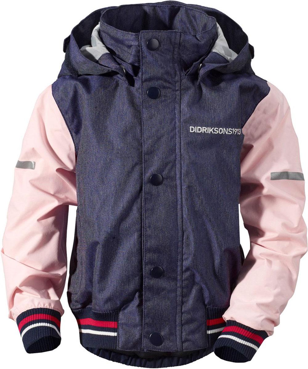 Куртка детская Didriksons1913 Googana, цвет: синий, розовый. 500786_188. Размер 100500786_188Детская куртка в стиле бомбер выполнена из непромокаемой и непродуваемой мембранной ткани. Спереди расположены скрытые карманы. Съемный капюшон. Регулируемые манжеты и низ изделия. Светоотражатели. Модель растет вместе с ребенком: уникальный крой изделия позволяет при необходимости увеличить длину рукавов на один размер, распустив специальный внутренний шов. Рассчитана на температуру от +10 до +18.