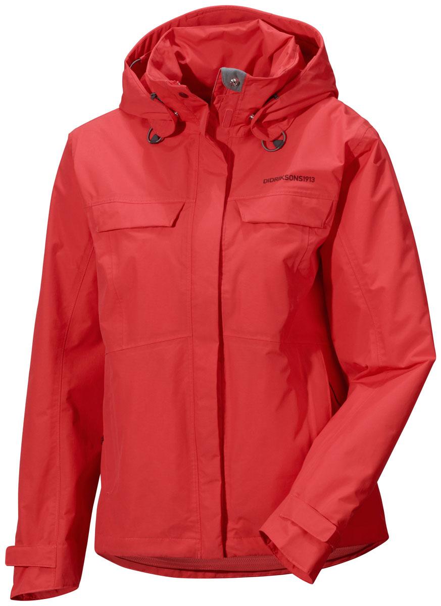 Куртка женская Didriksons1913 Albula, цвет: коралловый. 500456_377. Размер 40 (48)500456_377Модная женская куртка Didriksons1913 Albula изготовлена из ветронепроницаемой дышащей ткани - высококачественного полиамида. Технология Storm System обеспечивает 100% водонепроницаемость и защиту от любых погодных условий. Подкладка выполнена из полиэстера и полиамида.Модель оформлена съемным капюшоном застегивается на пластиковую молнию и дополнительно на двойной ветрозащитный клапан на липучках. Капюшон регулируется с помощью эластичных шнурков со стопперами и дополнен небольшим укрепленным козырьком. Спереди изделие дополнено двумя втачными карманами на молнии и двумя прорезными карманами, закрывающимися на клапаны с кнопками,с внутренней стороны - одним прорезным на застежке молнии. Манжеты рукавов дополненыхлястиками налипучках, регулирующих ширину рукавов. Нижняя часть изделия с внутренней стороны регулируется за счет эластичного шнурка со стопперами.