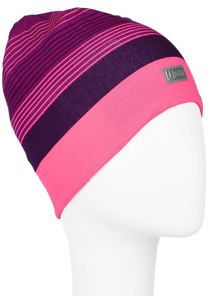 Шапка для девочки Lassie Beanie, цвет: фиолетовый, розовый. 728690-3380. Размер M (50/52)728690-3380Комфортная шапка для девочки Reima Lassie Beanie идеально подойдет для прогулок в холодное время года. Изделие, выполненное из хлопка и эластана, максимально сохраняет тепло, оно мягкое и идеально прилегает к голове. Мягкая подкладка выполнена из флиса, поэтому шапка хорошо сохраняет тепло и обладает отличной гигроскопичностью (не впитывает влагу, но проводит ее). Модель оформлена принтом в полоску и дополнена небольшой светоотражающей фирменной нашивкой.В такой шапке ваша дочурка будет чувствовать себя уютно и комфортно. Уважаемые клиенты!Размер, доступный для заказа, является обхватом головы.