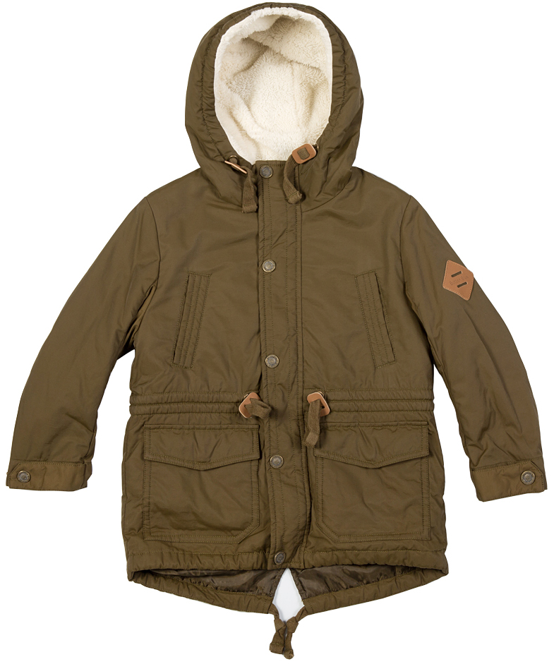 Куртка для мальчика Button Blue, цвет: темно-оливковый. 216BBBC46010900. Размер 98, 3 года216BBBC46010900Стильная зимняя куртка для мальчика - залог хорошего настроения в морозный день! Красивый цвет, модный силуэт, крупные функциональные детали обеспечивают модели прекрасный внешний вид! Внутри утеплена искусственным мехом.