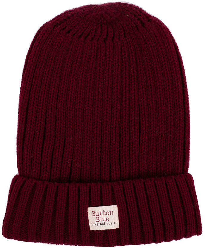 Шапка для мальчика Button Blue, цвет: бордовый. 216BBBX73040300. Размер 54, 9-11 лет216BBBX73040300Детская вязаная шапка - важный атрибут повседневной одежды! Модель выполнена из высококачественного материала, оформлена оригинальной вязкой и подворотом.