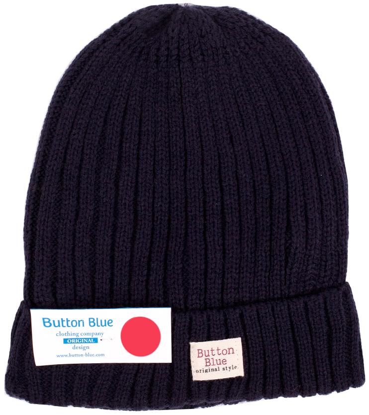 Шапка для мальчика Button Blue, цвет: темно-синий. 216BBBX73041000. Размер 56, 12-13 лет216BBBX73041000Детская вязаная шапка - важный атрибут повседневной одежды! Модель выполнена из высококачественного материала, оформлена оригинальной вязкой и подворотом.