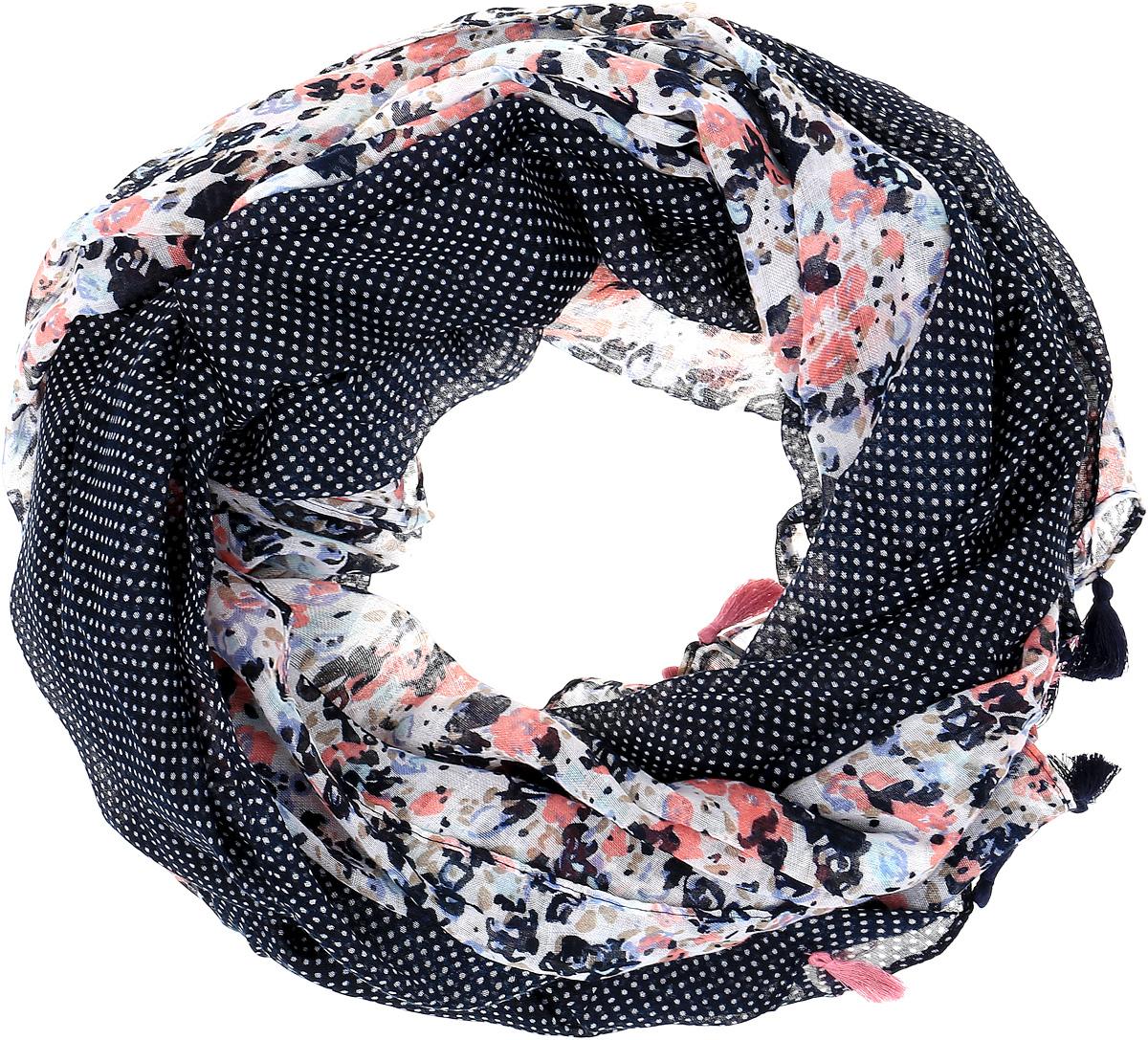 Палантин Sophie Ramage, цвет: темно-синий, розовый. SJ-21603-16. Размер 90 см х 180 смSJ-21603-16Элегантный палантин Sophie Ramage станет достойным завершением вашего образа. Палантин изготовлен из акрила с добавлением высококачественной шерсти. Модель оформлена цветочным принтом, который дополнен мелким горошком. Изящность придают небольшие кисточки по краям изделия. Палантин красиво драпируется, он превосходно дополнит любой наряд и подчеркнет ваш изысканный вкус. Легкий и изящный палантин привнесет в ваш образ утонченность и шарм.