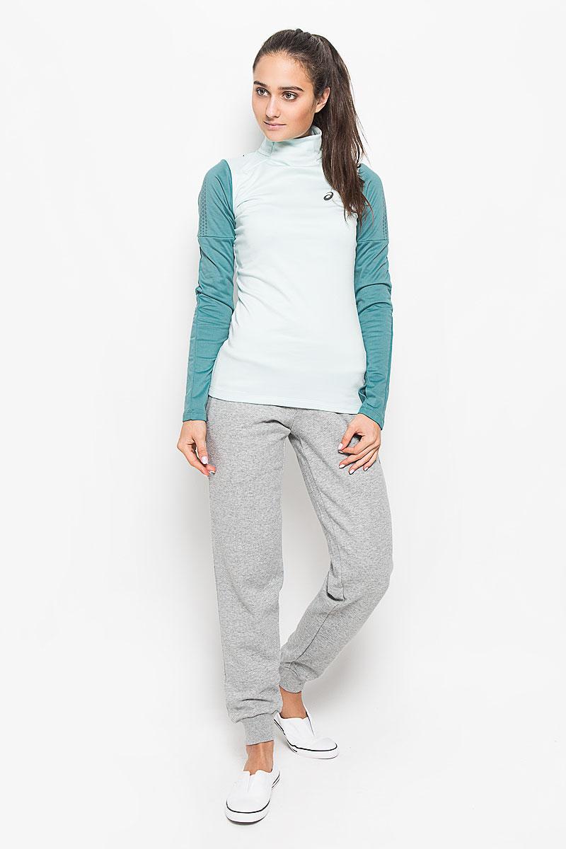 Лонгслив для бега женский Asics Lite-Show Winter Ls, цвет: мятный, темно-бирюзовый. 134073-8147. Размер S (42/44)