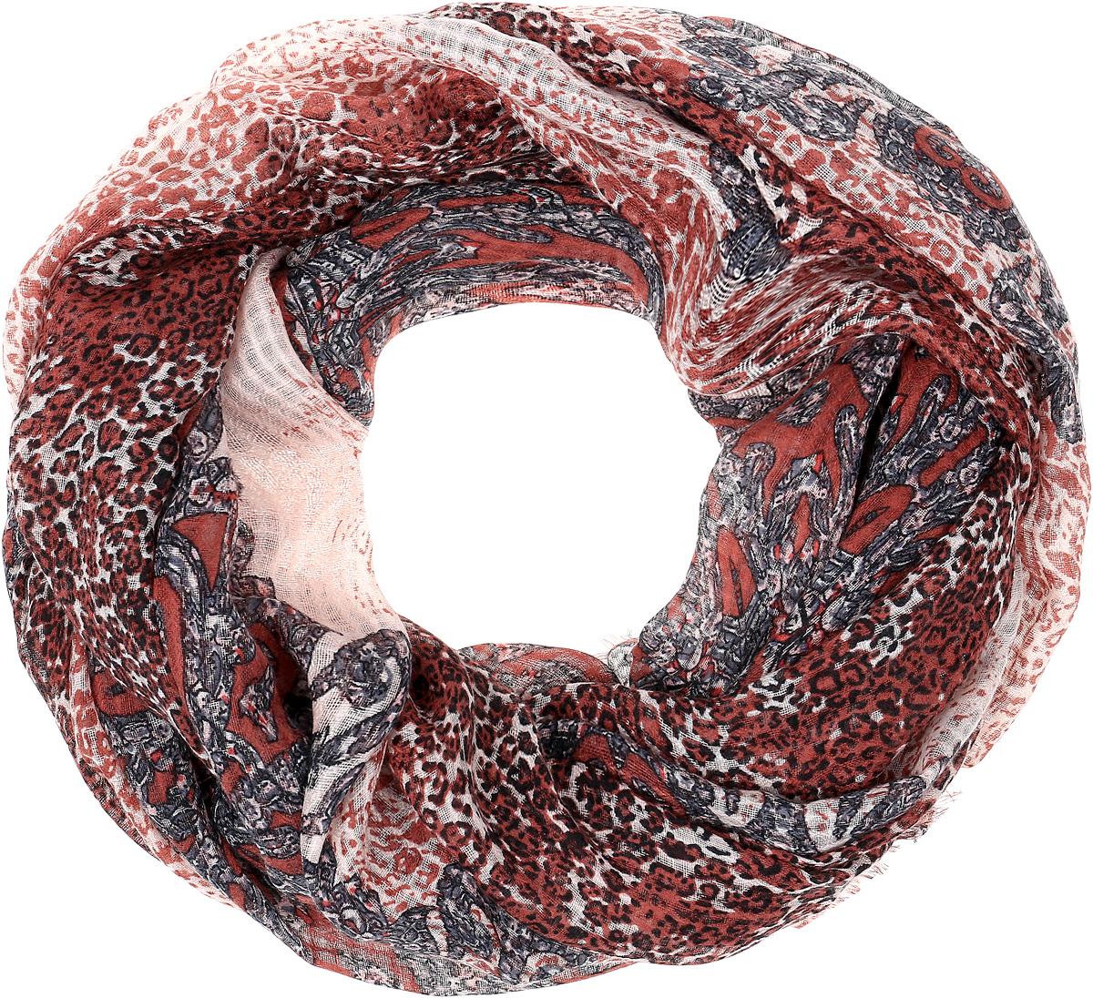 Палантин Sophie Ramage, цвет: красно-коричневый. YY-21652-10. Размер 80 см х 180 смYY-21652-10Элегантный палантин Sophie Ramage станет достойным завершением вашего образа. Палантин изготовлен из модала с добавлением шерсти. Оформлена модель контрастным принтом в виде узоров и по краям дополнена бахромой.Палантин красиво драпируется, он превосходно дополнит любой наряд и подчеркнет ваш изысканный вкус. Легкий и изящный палантин привнесет в ваш образ утонченность и шарм.