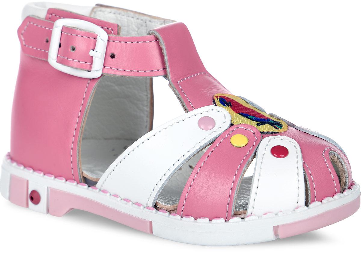 Сандалии для девочки Таши Орто, цвет: розовый, белый. 221-53. Размер 21Tas221-53Модные сандалии Таши Орто заинтересует вашу девочку с первого взгляда. Модель выполнена из натуральной кожи. Мыс декорирован текстильной нашивкой с изображением попугая. Ремешок на застежке-пряжке помогает оптимально подогнать полноту обуви по ноге и гарантирует надежную фиксацию. Анатомическая стелька из натуральной кожи с супинатором, не продавливающимся во время носки, обеспечивает правильное формирование стопы. Благодаря использованию современных внутренних материалов оптимально распределяется нагрузка по всей площади стопы, что дает ножке ощущение мягкости и комфорта. Полужесткий задник фиксирует ножку ребенка. Мягкая верхняя часть, которая плотно прилегает к ноге, и подкладка, изготовленная из натуральной кожи, позволяют избежать натирания. У изделия ортопедический каблук Томаса высотой от 2 до 5 мм (в зависимости от размера обуви), продленный с внутренней стороны подошвы, его внутренняя часть длиннее наружной, укрепляет подошву под средней частью стопы и препятствует заваливанию стопы внутрь (что обычно наблюдается при вальгусной постановке). Эластичная подошва с рельефным протектором предназначена для правильного распределения нагрузки на опорно-двигательный аппарат ребенка, позволяет сгибаться стопе при ходьбе или беге анатомически правильно, в 1/3 стопы, а не посередине, позволяет сформировать правильную походку ребенка.