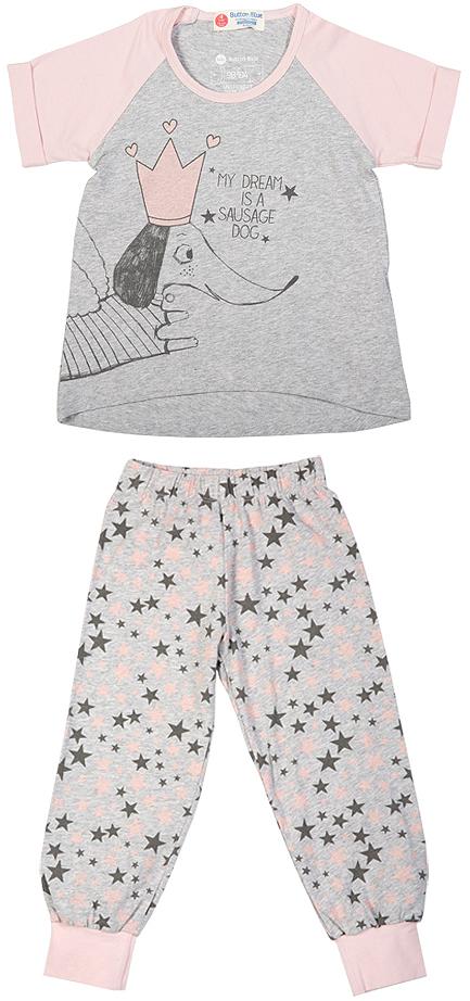 Пижама для девочки Button Blue, цвет: серый, розовый. 216BBGU97011901. Размер 116, 6 лет216BBGU97011901Уютная пижама с коротким рукавом - прекрасный комплект для комфортного сна и хороших сновидений. Трикотажную пижаму для девочки украшает крупный интересный принт.
