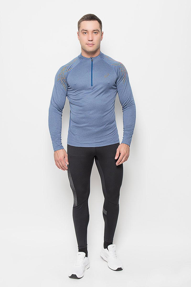 Лонгслив для бега мужской Asics Stripe 1/2 Zip, цвет: синий. 134102-8151. Размер XL (52/54)134102-8151Мужская водолазка для бега Asics Stripe 1/2 Zip, выполненная из полиэстера, великолепно подойдет для занятий спортом в прохладные дни. Такой материал великолепно пропускает воздух, обеспечивая необходимую вентиляцию, приятен к телу и превосходно тянется, обеспечивая комфортную посадку по фигуре. Водолазка с длинными рукавами-реглан имеет удобные плоские швы. Воротник-стойка на застежке-молнии позволяет защитить шею от холода и ветра, а специальная вставка предотвращает натирание подбородка. Водолазка оформлена светоотражающим логотипом бренда спереди.Такая водолазка будет дарить вам комфорт в течение всего дня, в ней вы всегда будете чувствовать себя уверенно и уютно и непременно достигнете новых спортивных высот.