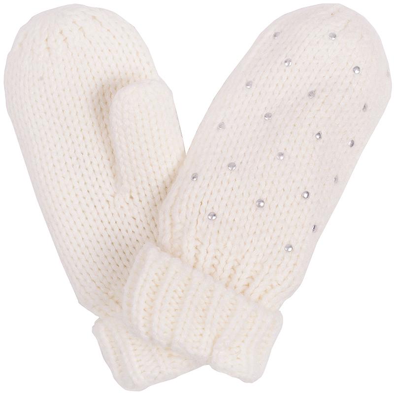 Варежки для девочки Button Blue, цвет: молочный. 216BBGX76011400. Размер 16, 9-11 лет216BBGX76011400Детские варежки - незаменимая модель для холодной погоды. Их основная функция - защита от мороза и ветра, и с ней эти варежки на подкладке из флиса справятся наилучшим образом.