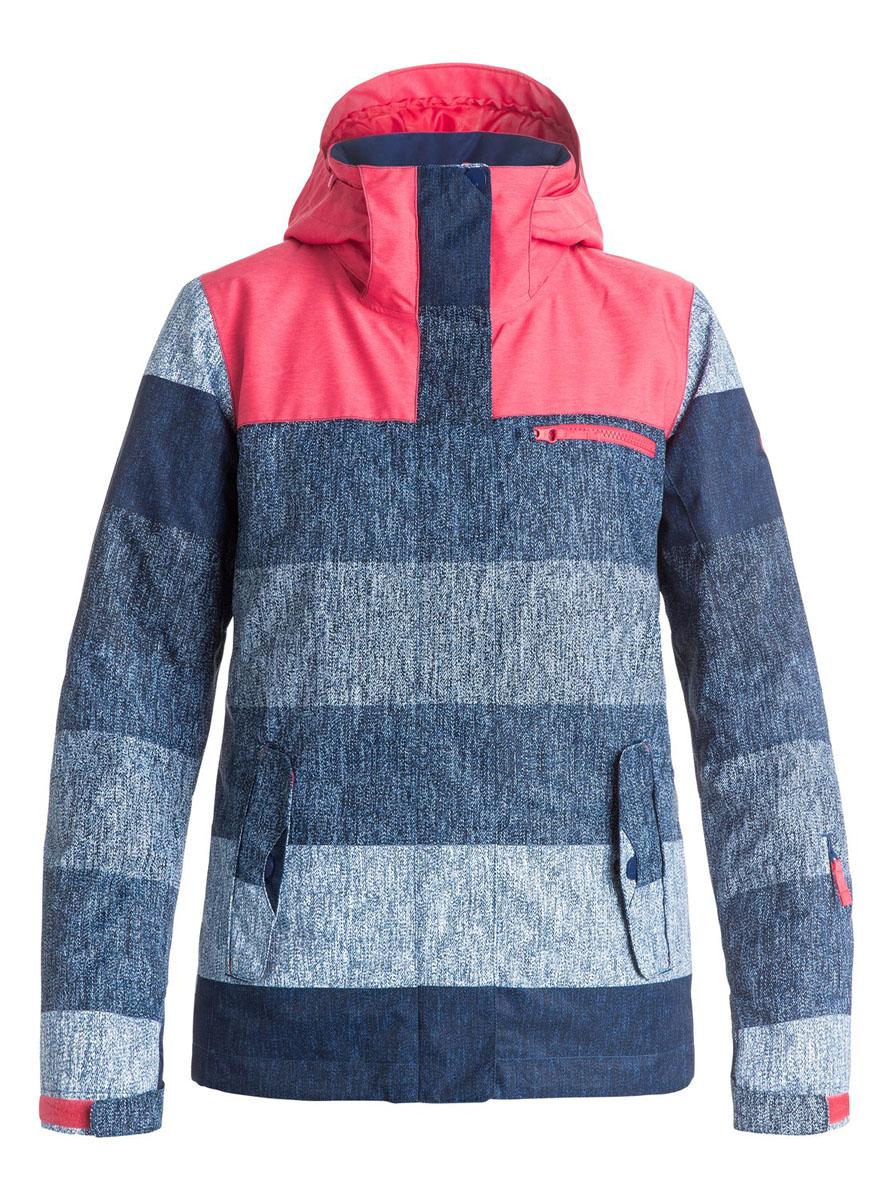 Куртка для сноуборда женская Roxy Jetty Block, цвет: синий, розовый. ERJTJ03054-BSQ3. Размер M (44)ERJTJ03054-BSQ3Женская куртка для сноуборда выполнена из полиэстера с утеплителем Warmflight (тело 120 г, рукава 100 г, капюшон 60 г). Подкладка из тафты со вставками из трикотажа с начесом. Критические швы проклеены. Съемный капюшон регулируется тремя способами. Фиксированная противоснежная юбка из тафты с удобными кнопками.Система пристегивания куртки к штанам. Подкладка в районе подбородка.Куртка дополнена нагрудным карманом, внутренним медиакарманом, внутренним карманом для маски, брелоком для ключей.Лайкровые гейтеры в рукавах. Кармашек для скипасса на рукаве. Сеточная вентиляция подмышками.Карманы с теплой подкладкой.