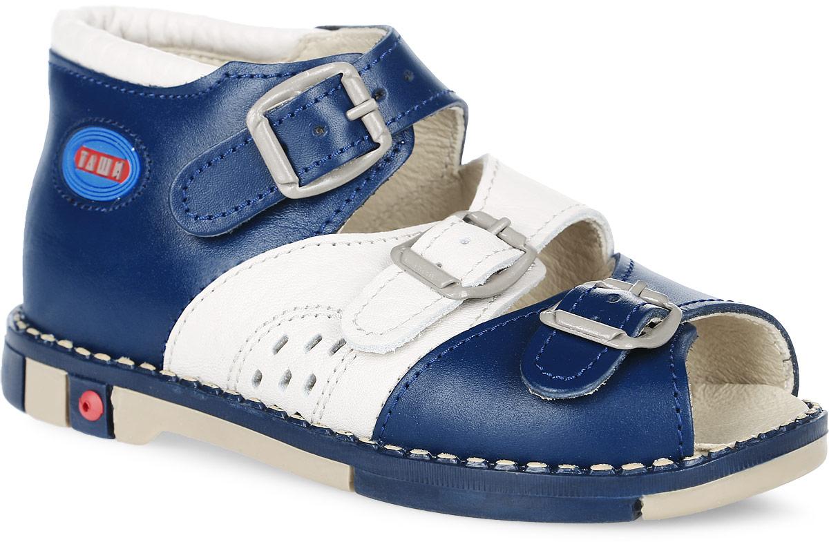 Сандалии для мальчика Таши Орто, цвет: бежево-серый, темно-синий. 331-72. Размер 25Tas331-72Модные сандалии Таши Орто заинтересует вашего мальчика с первого взгляда. Модель выполнена из натуральной кожи. Ремешки на застежках-пряжках помогают оптимально подогнать полноту обуви по ноге и гарантируют надежную фиксацию. Боковая сторона изделия декорирована логотипом бренда. Анатомическая стелька из натуральной кожи с супинатором, не продавливающимся во время носки, обеспечивает правильное формирование стопы. Благодаря использованию современных внутренних материалов оптимально распределяется нагрузка по всей площади стопы, что дает ножке ощущение мягкости и комфорта. Полужесткий задник фиксирует ножку ребенка. Мягкая верхняя часть, которая плотно прилегает к ноге, и подкладка, изготовленная из натуральной кожи, позволяют избежать натирания. У изделия ортопедический каблук Томаса высотой от 2 до 5 мм (в зависимости от размера обуви), продленный с внутренней стороны подошвы, его внутренняя часть длиннее наружной, укрепляет подошву под средней частью стопы и препятствует заваливанию стопы внутрь (что обычно наблюдается при вальгусной постановке). Эластичная подошва с рельефным протектором предназначена для правильного распределения нагрузки на опорно-двигательный аппарат ребенка, позволяет сгибаться стопе при ходьбе или беге анатомически правильно, в 1/3 стопы, а не посередине, позволяет сформировать правильную походку ребенка.