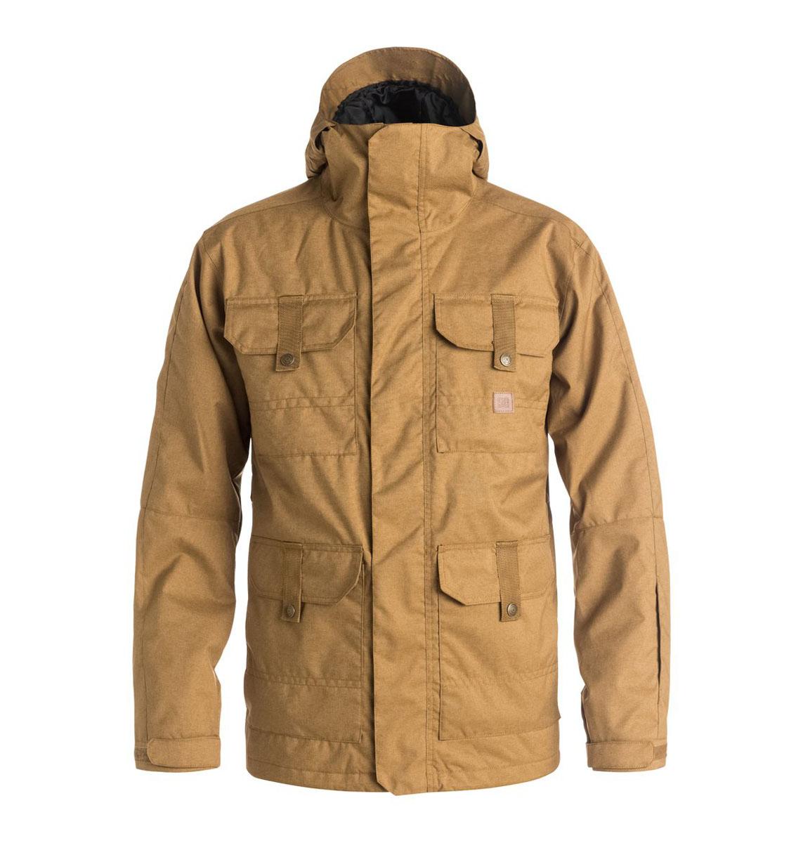 Куртка мужская DC Shoes, цвет: песочный. EDYTJ03022. Размер L (54)EDYTJ03022-CNE0Мужская куртка Quiksilverвыполнена из 100% полиэстера. В качестве подкладки и утеплителя также используется полиэстер. Изделие произведено из сырья высшего качества.Модель с несъемным капюшоном застегивается на застежку-молнию и имеет ветрозащитную планку на липучках. Край капюшона дополнен шнурком-кулиской и небольшим укрепленным козырьком. Низ рукавов дополнен хлястиком на кнопке, а внутренняя часть рукава оформлена эластичным манжетом с прорезью для большого пальца. Спереди расположено четыре накладных кармана с клапанами на кнопках и липучках и по бокам они же дополнены карманами намолнии, а с внутренней стороны - один накладной карман из сетчатой ткани. Под защитной планкой расположена застежка молния, которая дополнена отверстием для наушников. В поясе с внутренней стороны куртка имеет дополнительную подкладку на резинке, которая защитит от ветра и попадания снега.