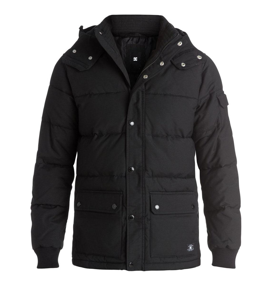 Куртка мужская DC Shoes, цвет: черный. EDYJK03072. Размер L (54)EDYJK03072-KVJ0Мужская куртка DC Shoes с длинными рукавами и съемным капюшоном на кнопках выполнена из хлопка с добавлением нейлона. Наполнитель - синтепон. . Куртка застегивается на застежку-молнию спереди и имеет ветрозащитный клапан на кнопках. Изделие оснащено двумя накладными карманами с клапанами на кнопках спереди и внутренним накладным карманом на липучке. Рукава дополнены трикотажными манжетами. Объем капюшона регулируется при помощи шнурка-кулиски. Низ изделия также оснащен шнурком-кулиской.