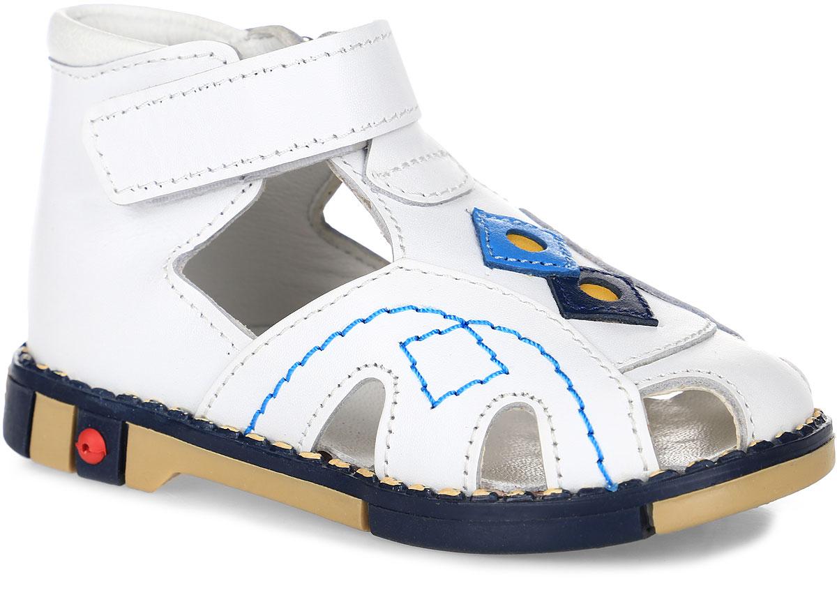 Сандалии детские Таши Орто, цвет: белый. 244-02. Размер 21Tas244-02Модные сандалии Таши Орто заинтересуют вашего ребенка с первого взгляда. Модель выполнена из натуральной кожи. Ремешок на застежке-липучке помогает оптимально подогнать полноту обуви по ноге и гарантирует надежную фиксацию. Благодаря такой застежке ребенок может самостоятельно надевать обувь. Анатомическая стелька из натуральной кожи с супинатором, не продавливающимся во время носки, обеспечивает правильное формирование стопы. Благодаря использованию современных внутренних материалов оптимально распределяется нагрузка по всей площади стопы, что дает ножке ощущение мягкости и комфорта. Полужесткий задник фиксирует ножку ребенка. Мягкая верхняя часть, которая плотно прилегает к ноге, и подкладка, изготовленная из натуральной кожи, позволяют избежать натирания. У модели ортопедический каблук высотой от 2 до 5 мм (в зависимости от размера обуви), продленный с внутренней стороны, укрепляет подошву под средней частью стопы и препятствует заваливанию стопы внутрь (что обычно наблюдается при вальгусной постановке). Эластичная подошва с рельефным протектором предназначена для правильного распределения нагрузки на опорно-двигательный аппарат, позволяет сформировать правильную походку ребенка.
