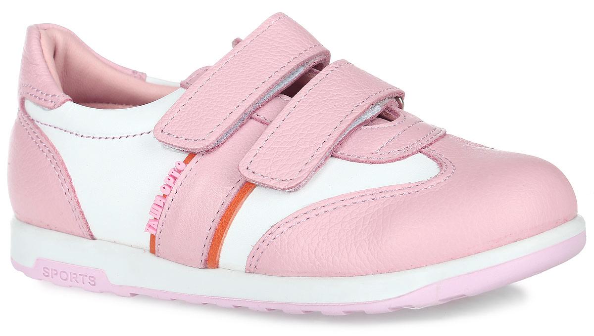 Полуботинки для девочки Таши Орто, цвет: розовый, белый. 471-09. Размер 29Tas471-09Модные полуботинки Таши Орто заинтересуют вашу девочку с первого взгляда. Модель выполнена из натуральной кожи. Ремешки назастежке-липучке помогают оптимально подогнать полноту обуви по ноге и гарантируют надежную фиксацию. Благодаря таким застежкамребенок может самостоятельно надевать обувь. Боковая сторона изделия декорирована логотипом бренда. Анатомическая стелька изнатуральной кожи с супинатором, не продавливающимся во время носки, обеспечивает правильное формирование стопы. Благодаряиспользованию современных внутренних материалов оптимально распределяется нагрузка по всей площади стопы, что дает ножке ощущениемягкости и комфорта. Полужесткий задник фиксирует ножку ребенка. Мягкая верхняя часть, которая плотно прилегает к ноге, и подкладка, изготовленная из натуральной кожи, позволяют избежать натирания. Ортопедическая подошва незаменима для правильного распределения нагрузки на опорно-двигательный аппарат ребенка.