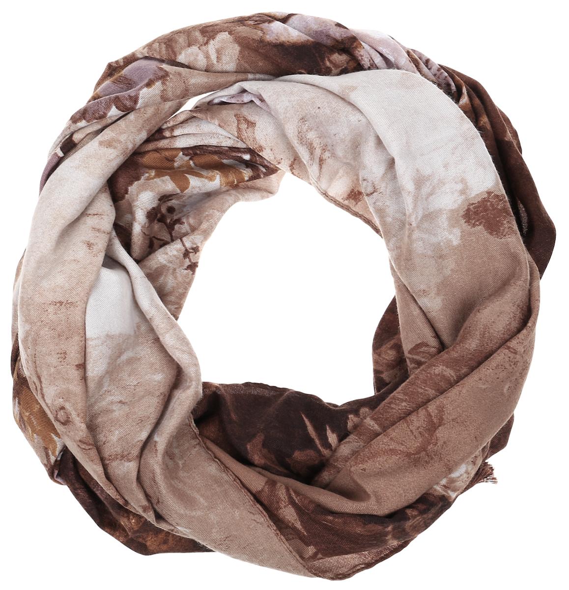 Палантин Sophie Ramage, цвет: бежево-коричневый. YY-21642-12. Размер 70 см х 180 смYY-21642-12Элегантный палантин Sophie Ramage станет достойным завершением вашего образа. Палантин изготовлен из высококачественного модала с добавлением шерсти. Оформлена модель стильным цветочным принтом. Палантин красиво драпируется, он превосходно дополнит любой наряд и подчеркнет ваш изысканный вкус. Легкий и изящный палантин привнесет в ваш образ утонченность и шарм.