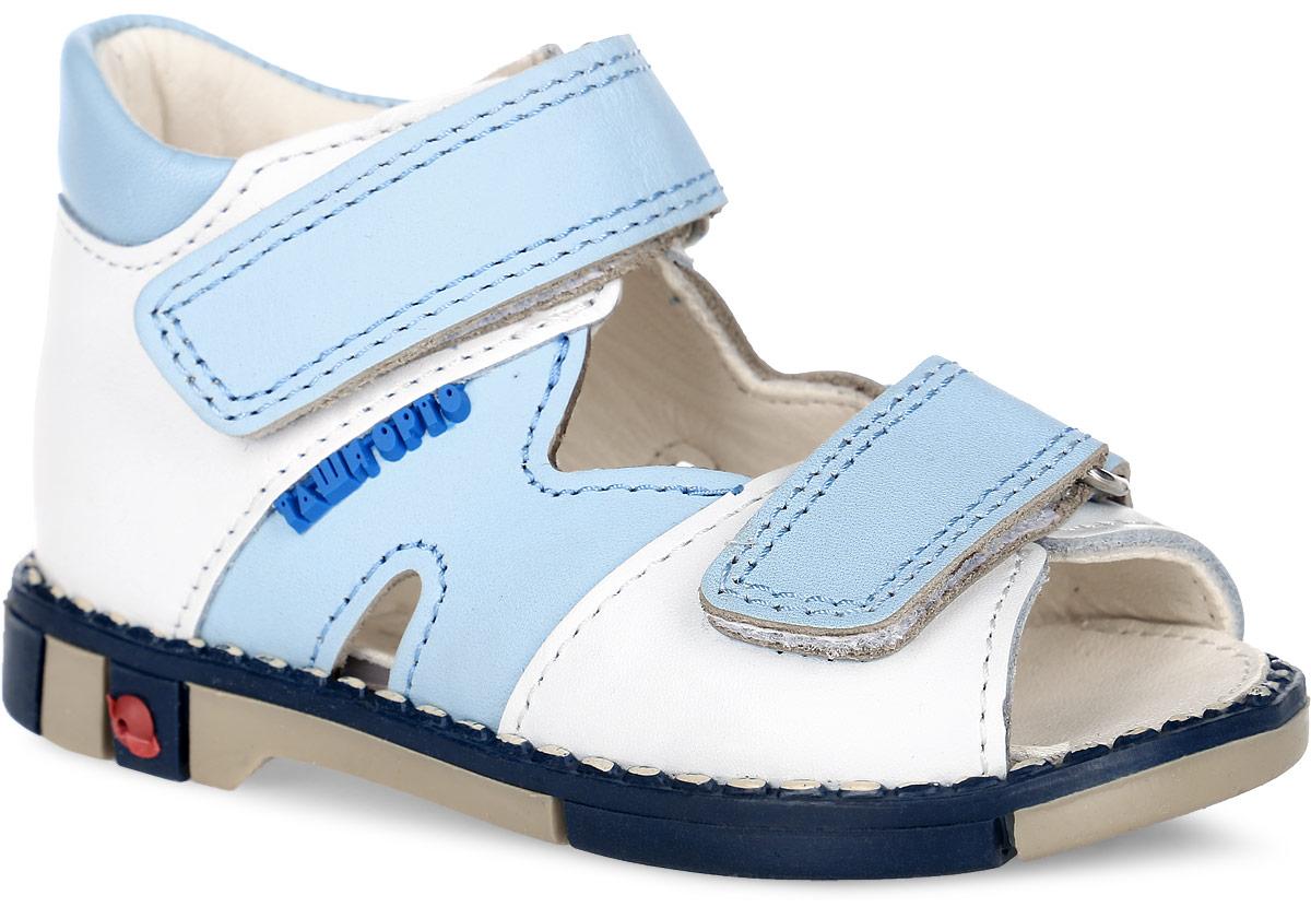 Сандалии для мальчика Таши Орто, цвет: белый, светло-голубой. 260-062. Размер 20Tas260-062Модные сандалии Таши Орто заинтересуют вашего мальчика с первого взгляда. Модель выполнена из натуральной кожи. Ремешки на застежке-липучке помогают оптимально подогнать полноту обуви по ноге и гарантируют надежную фиксацию. Благодаря такой застежке надевать обувь очень удобно. Анатомическая стелька из натуральной кожи с супинатором, не продавливающимся во время носки, обеспечивает правильное формирование стопы. Благодаря использованию современных внутренних материалов оптимально распределяется нагрузка по всей площади стопы, что дает ножке ощущение мягкости и комфорта. Полужесткий задник фиксирует ножку ребенка. Мягкая верхняя часть, которая плотно прилегает к ноге, и подкладка, изготовленная из натуральной кожи, позволяют избежать натирания. У изделия ортопедический каблук Томаса высотой от 2 до 5 мм (в зависимости от размера обуви), продленный с внутренней стороны подошвы, его внутренняя часть длиннее наружной, укрепляет подошву под средней частью стопы и препятствует заваливанию стопы внутрь (что обычно наблюдается при вальгусной постановке). Эластичная подошва с рельефным протектором предназначена для правильного распределения нагрузки на опорно-двигательный аппарат ребенка, позволяет сгибаться стопе при ходьбе или беге анатомически правильно, в 1/3 стопы, а не посередине, позволяет сформировать правильную походку ребенка.
