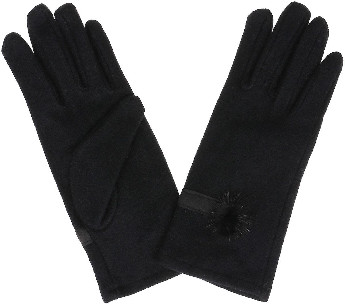 Перчатки женские Sela, цвет: черный. GL-143/063-6302. Размер 18GL-143/063-6302Элегантные женские перчатки Sela, выполненные из акрила с добавлением шерсти, не только согреют пальчики, но и дополнят ваш наряд в качестве эффектного аксессуара.Эластичный трикотаж не будет стеснять движений. Внешняя сторона перчатки декорирована трикотажной полоской и мехом. Перчатки станут завершающим и подчеркивающим элементом вашего стиля и неповторимости.