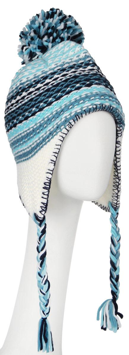 Шапка для девочки Scool, цвет: белый, бирюзовый. 364148. Размер 54364148Комфортная детская шапка Scool идеально подойдет для прогулок в холодное время года, защищая ушки ребенка от ветра.Шапочка выполненная из акрила, максимально сохраняет тепло, она мягкая и идеально прилегает к голове. Мягкая подкладка выполнена из флиса, поэтому шапка хорошо сохраняет тепло и обладает отличной гигроскопичностью (не впитывает влагу, но проводит ее). Шапка на макушке декорирована забавным помпоном, а на ушках дополнена плетеными завязками с кисточками, которые фиксируются под подбородком. Оригинальный дизайн и яркая расцветка делают эту шапку модным и стильным предметом детского гардероба. В ней ваш ребенок будет чувствовать себя уютно и комфортно и всегда будет в центре внимания! Уважаемые клиенты!Размер, доступный для заказа, является обхватом головы ребенка.