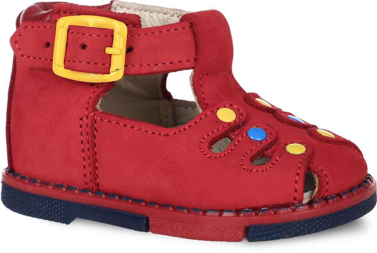 Сандалии для девочки Таши Орто, цвет: красный. 110-012. Размер 17Tas110-012Модные сандалии Таши Орто заинтересуют вашу девочку с первого взгляда. Модель выполнена из натурального нубука. Застежка-пряжка надежно фиксирует голеностоп и одновременно регулирует полноту, не ослабевает в процессе ежедневной носки, важный элемент ортопедической обуви. Анатомическая стелька из натуральной кожи с супинатором, не продавливающимся во время носки, обеспечивает правильное формирование стопы. Благодаря использованию современных внутренних материалов оптимально распределяется нагрузка по всей площади стопы, что дает ножке ощущение мягкости и комфорта. Полужесткий задник фиксирует ножку ребенка. Мягкая верхняя часть, которая плотно прилегает к ноге, и подкладка, изготовленная из натуральной кожи, позволяют избежать натирания. У изделия ортопедический каблук, продленный с внутренней стороны подошвы, его внутренняя часть длиннее наружной, укрепляет подошву под средней частью стопы и препятствует заваливанию стопы внутрь (что обычно наблюдается при вальгусной постановке). Эластичная подошва с рельефным протектором предназначена для правильного распределения нагрузки на опорно-двигательный аппарат ребенка, позволяет сгибаться стопе при ходьбе или беге анатомически правильно, в 1/3 стопы, а не посередине, позволяет сформировать правильную походку ребенка.